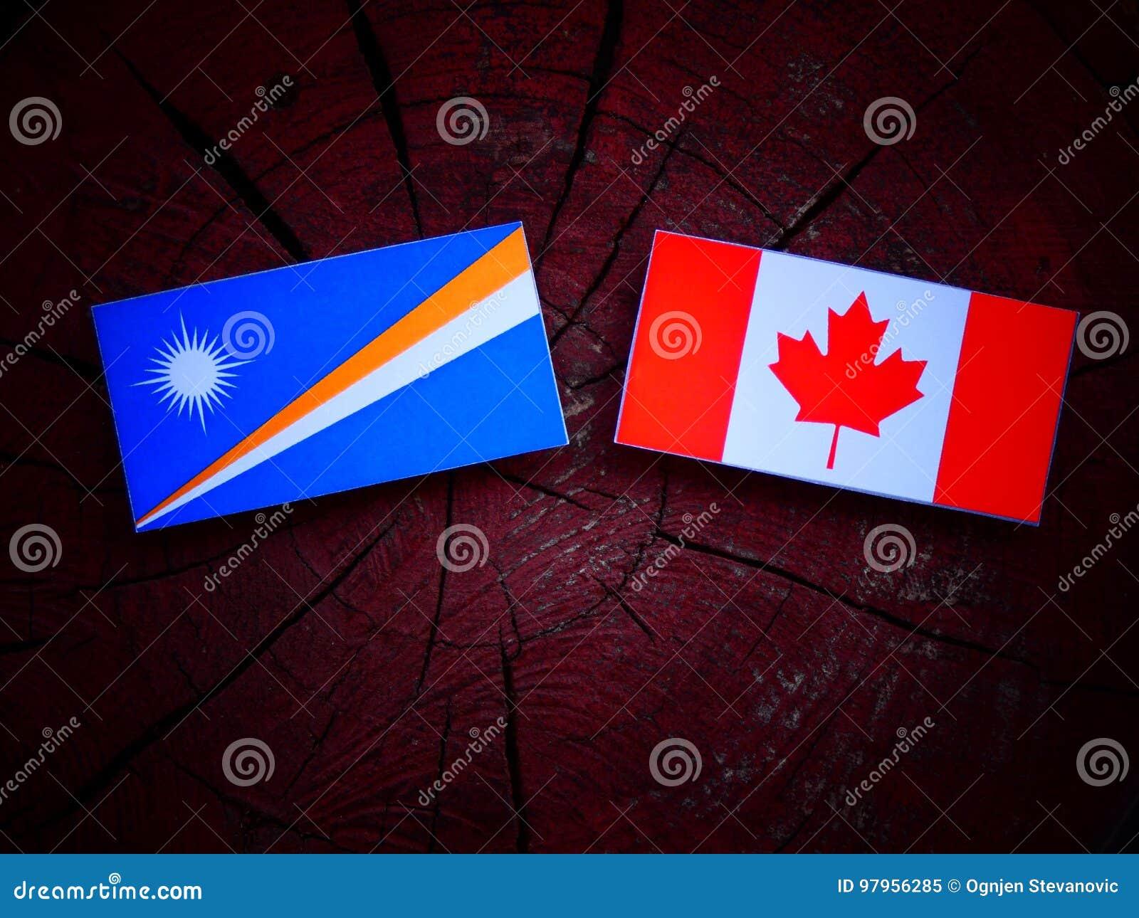 Marshall wyspy zaznaczają z kanadyjczyk flaga na drzewnym fiszorku odizolowywającym
