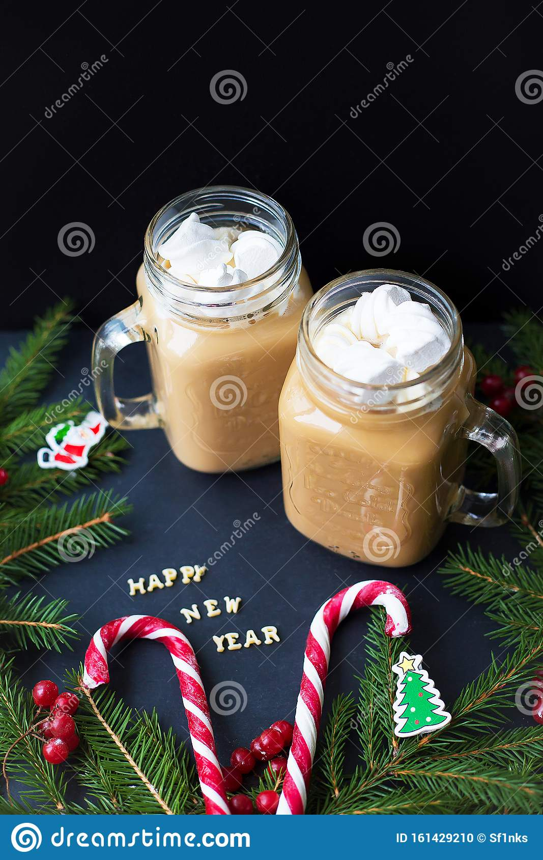Marshmellou Cocoa Christmas Tree Ornaments And Candy On A Black Background The Inscription Happy New Year Stock Photo Image Of Aroma Candy 161429210