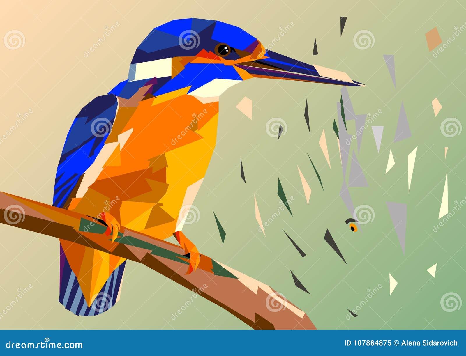 Martín pescador del pájaro en una rama con los pescados en su pico, multico del mosaico