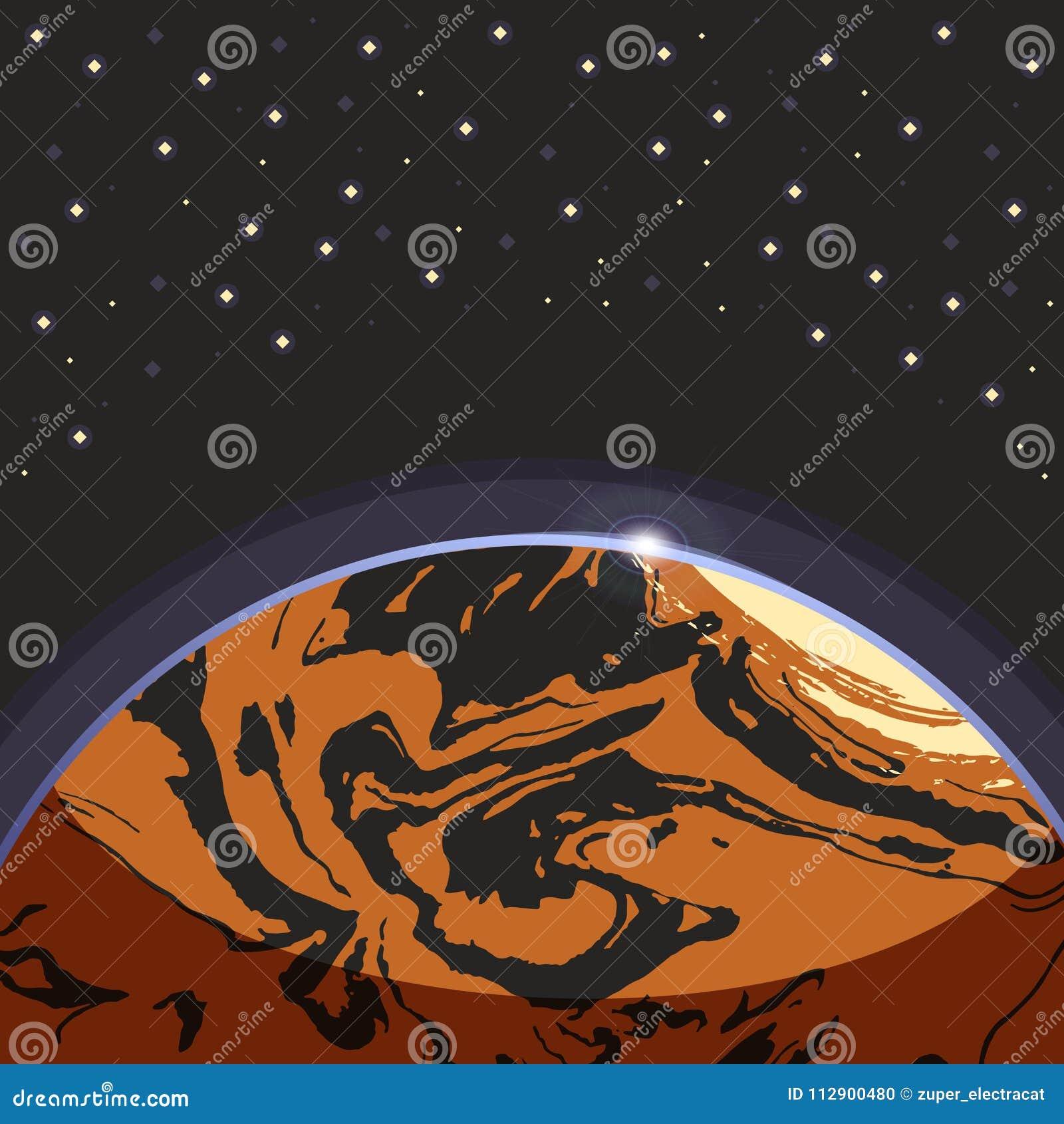 Marte - el planeta terrestre del exo del globo rojo en espacio oscuro protagoniza el fondo Paisaje futurista de la historieta Eje