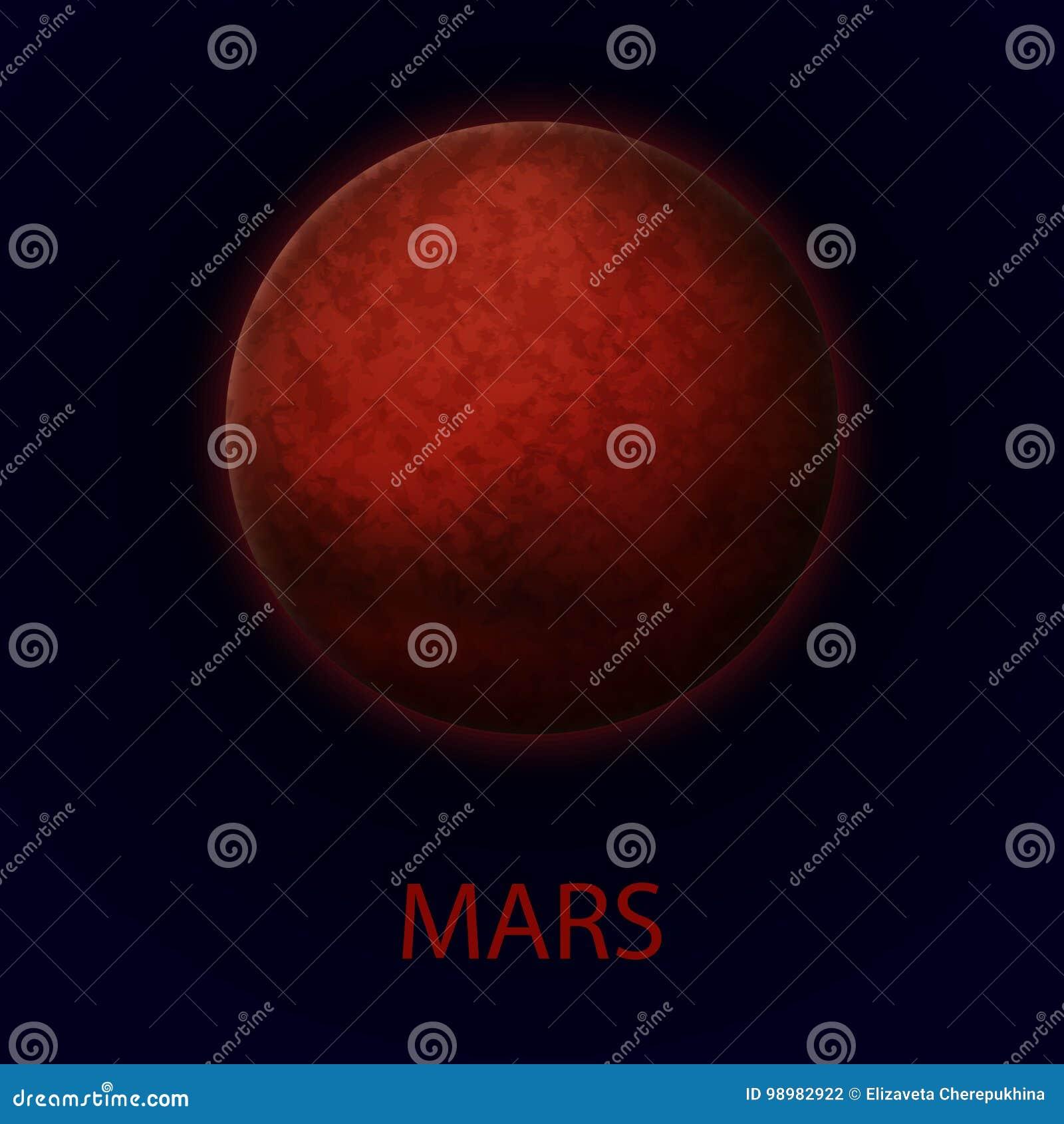 Marte Planeta Realista Rojo De La Sistema Solar Ilustración ...