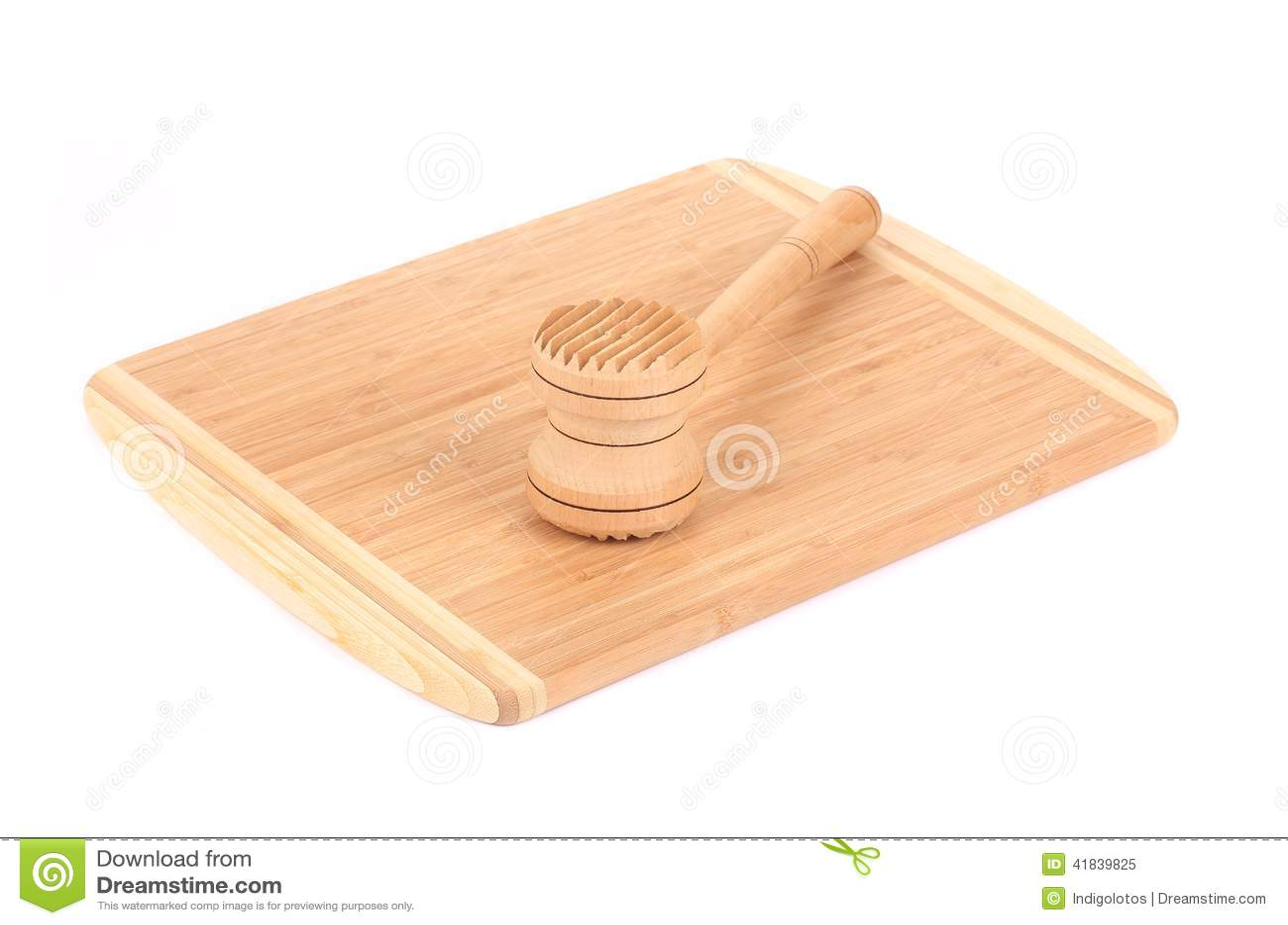 Marteau en bois de viande sur le panneau de cuisine photo for Panneau bois cuisine