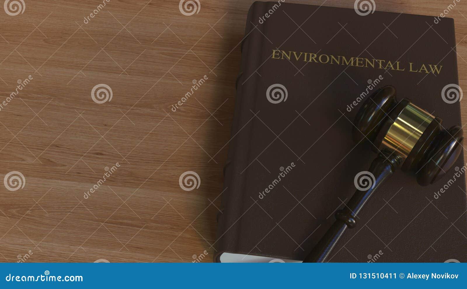Martelletto della corte sul libro di LEGGE AMBIENTALE Rappresentazione concettuale 3d