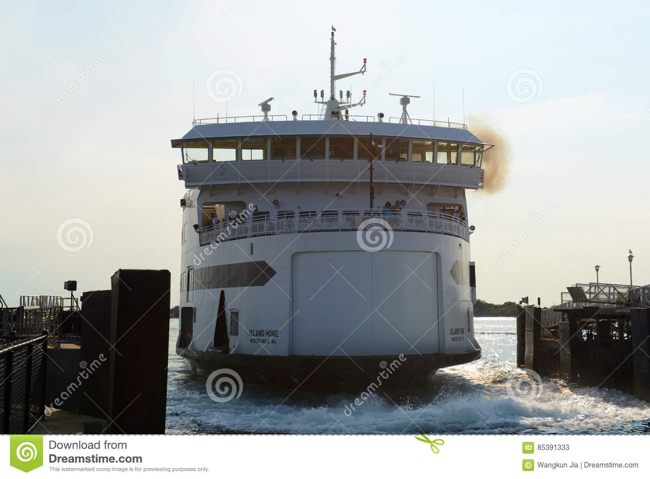 martha's vineyard ferry at woods hole, ma editorial stock photo