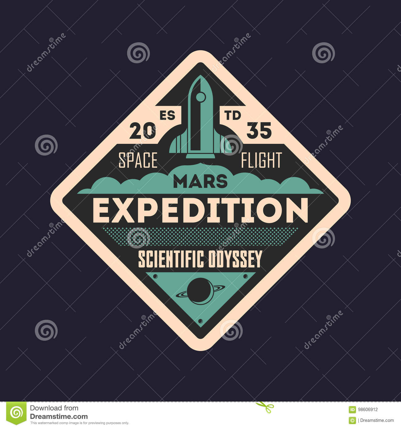 Martian scientific odyssey vintage isolated label stock vector martian scientific odyssey vintage isolated label biocorpaavc Choice Image