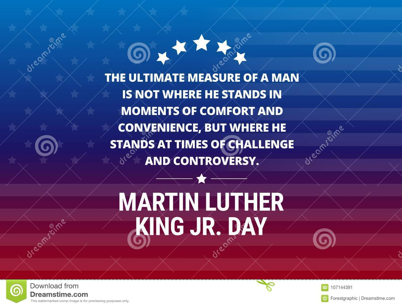 Martin Luther King Jr Day Holiday Vector Background Stock Vector