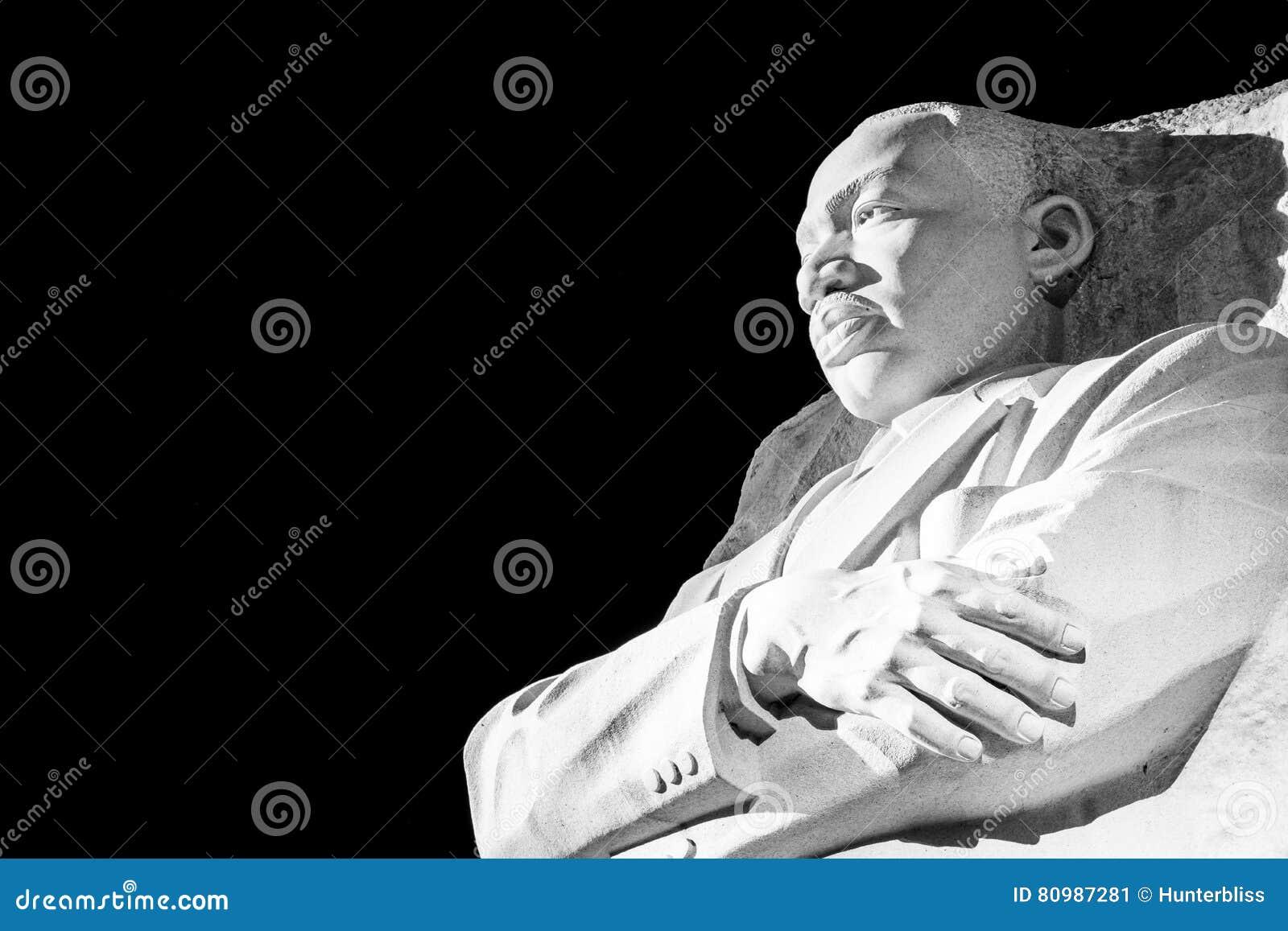 Martin Luther King Jr Memorial Statue Washington DC Night Evening Closeup