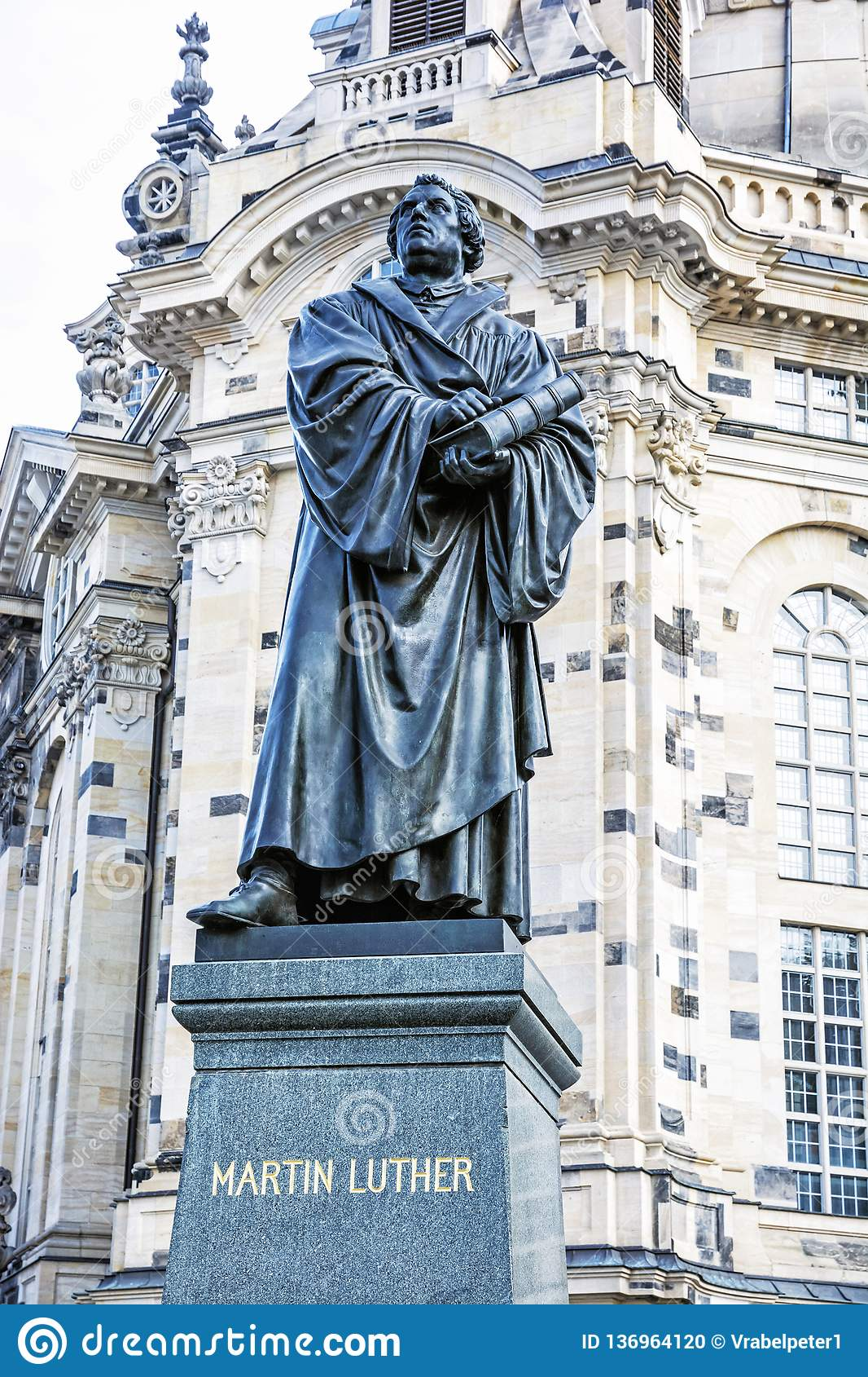 martin luther statue before frauenkirche in dresden germany