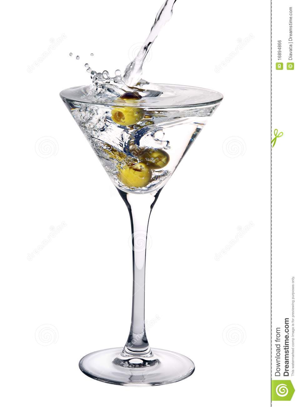 Martini Cocktail With Olives And Splash Royalty Free Stock