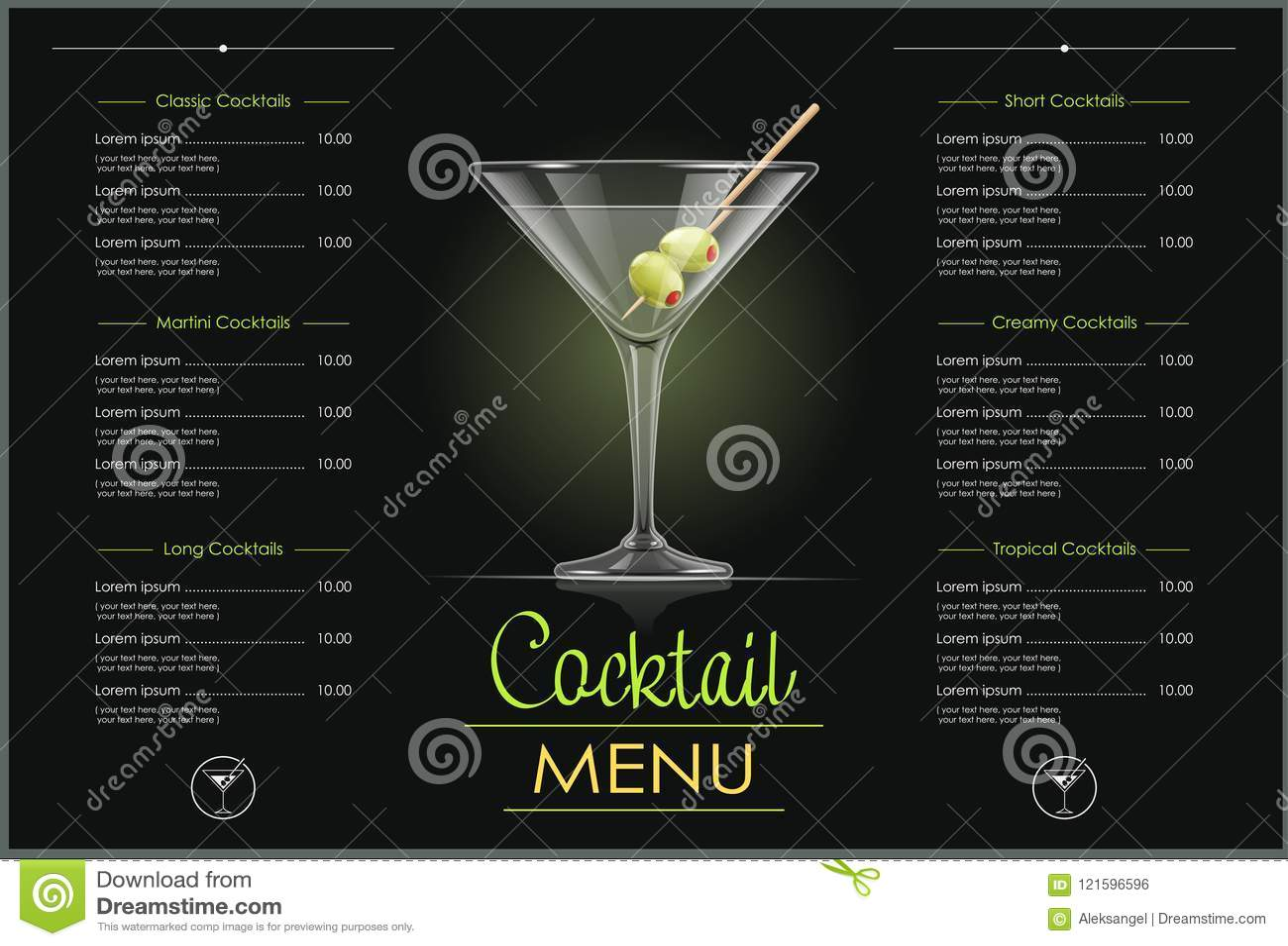 Martini, coctel Diseño del menú del cóctel