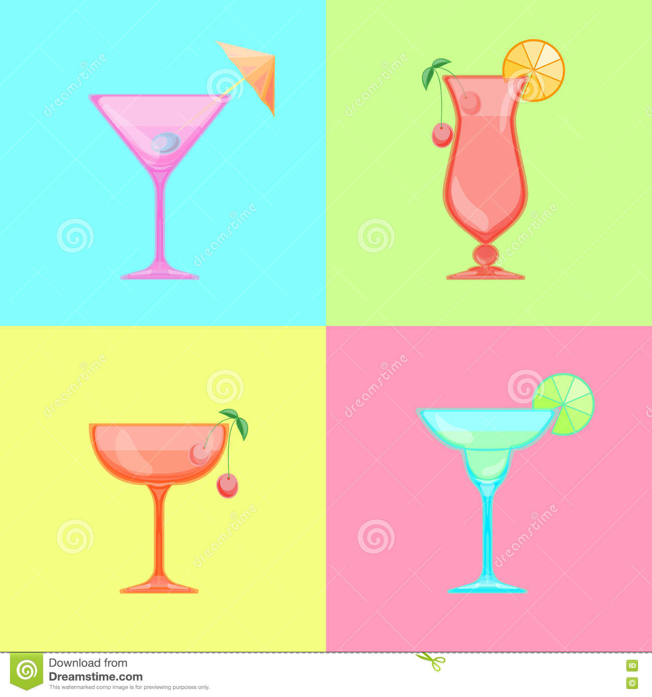 Martini Glass With Olive And Cocktail Umbrella Stock Illustration