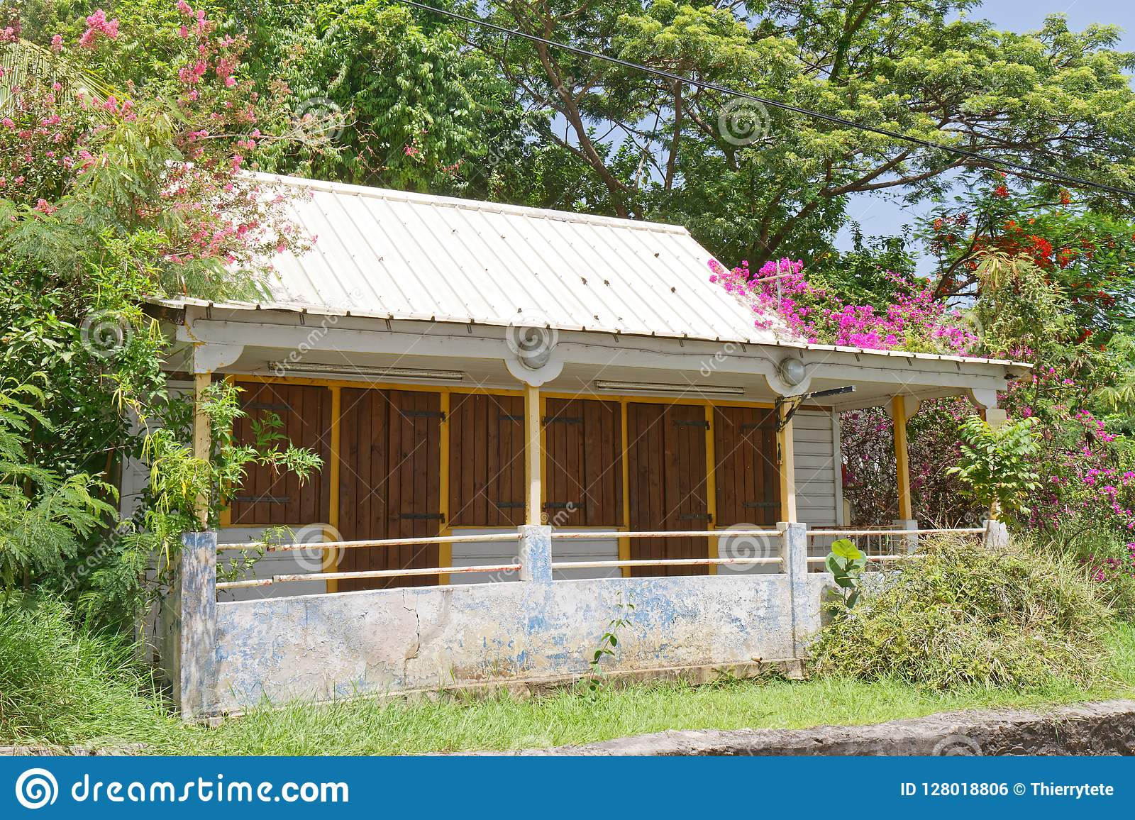 Martinique Creole House In Sainte Anne Stock Photo Image Of