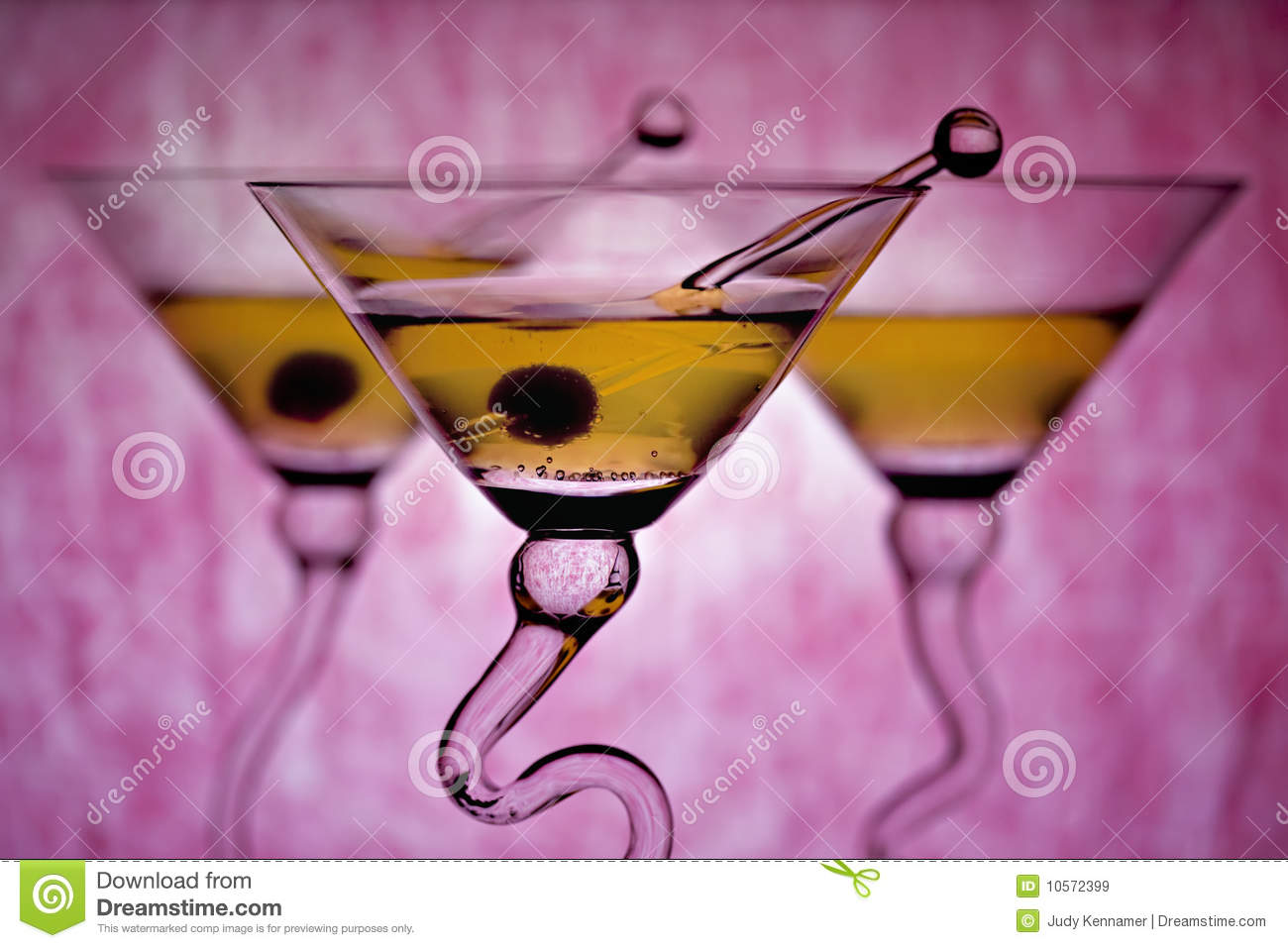 Martinis with pink background