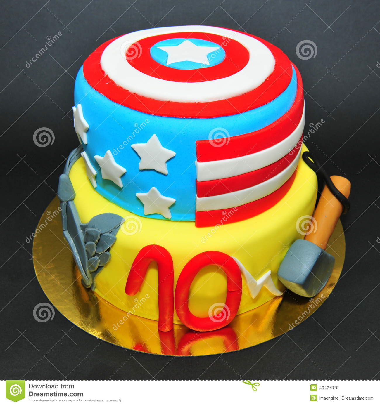 Marvel Comics Characters Cake Captain America And Thor Editorial