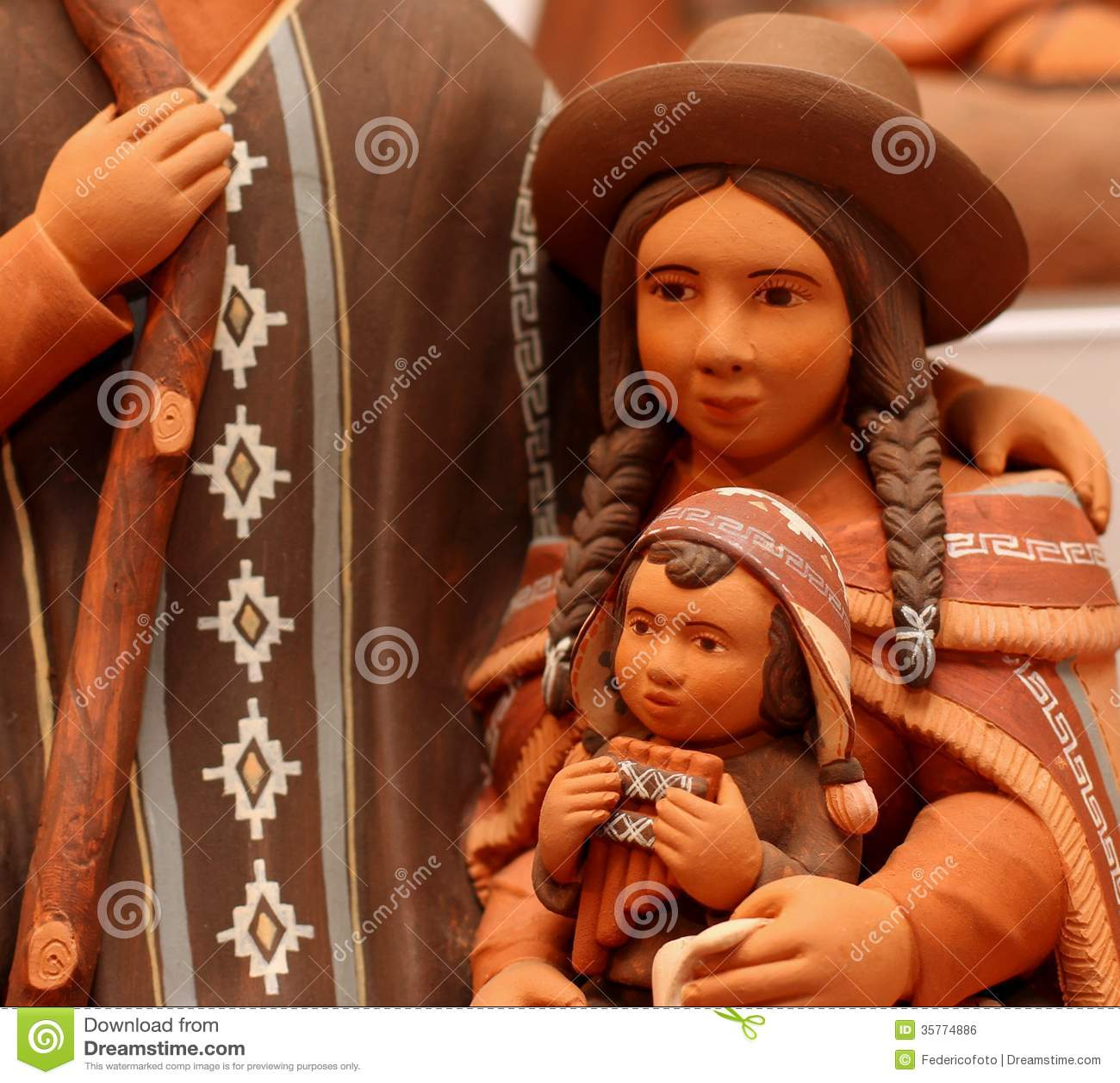 Mary and baby Jesus in bolivia terracotta handmade