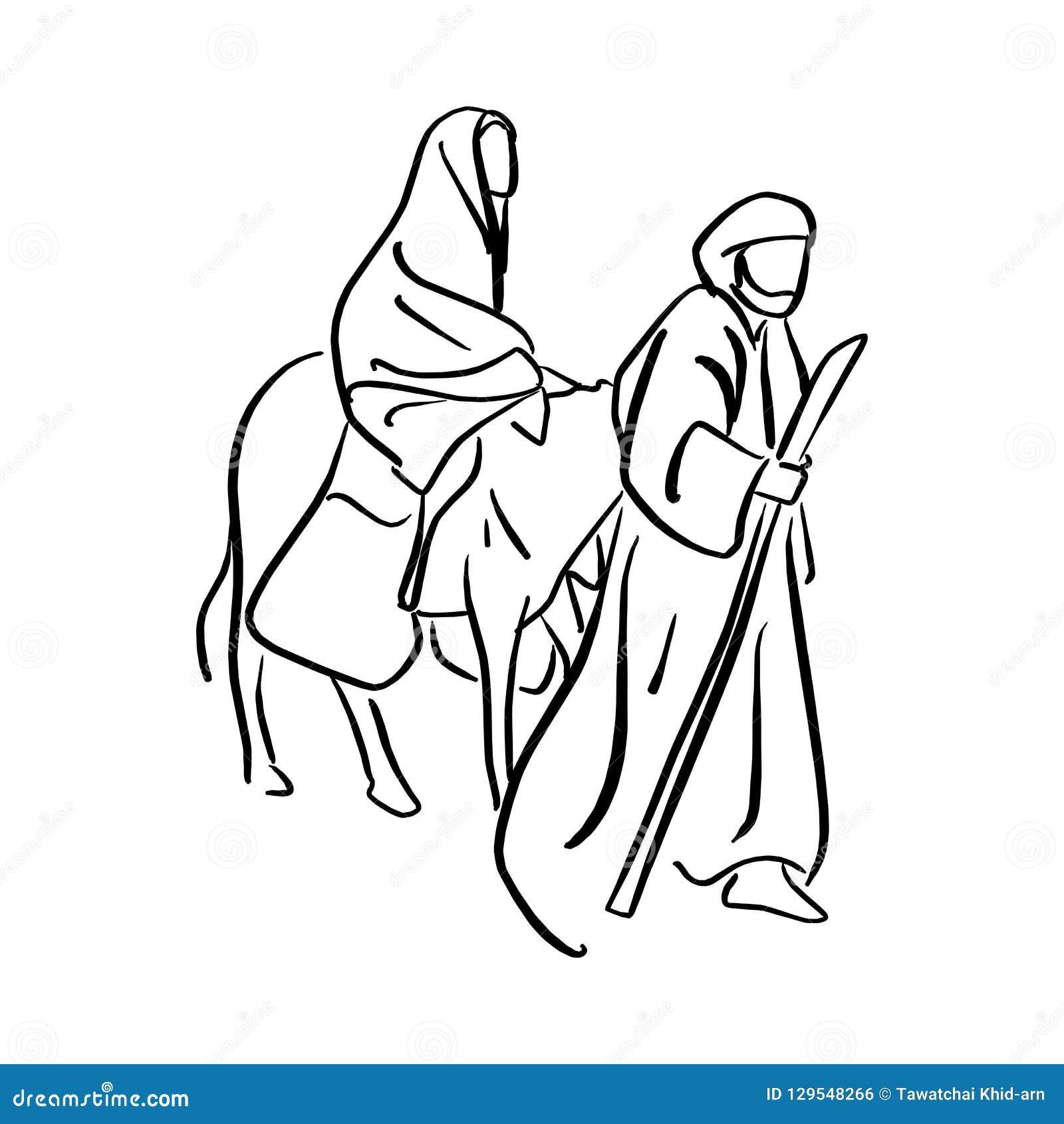 Mary e Joseph na sobremesa com um asno no SE da Noite de Natal