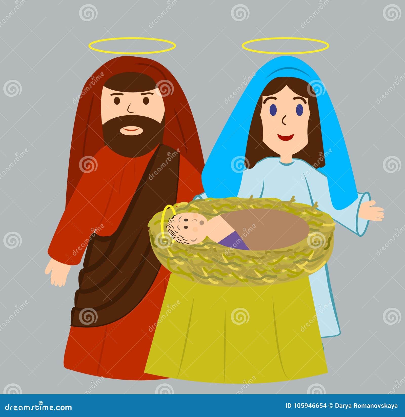 Mary i Joseph z nowonarodzonym jezus chrystus