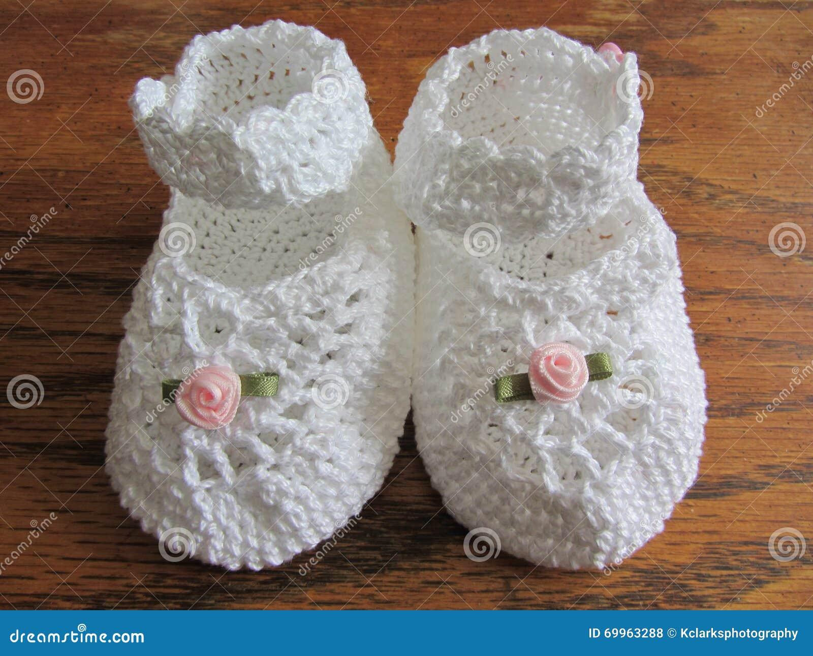 Mary Jane Girl Baby Booties feita crochê mão