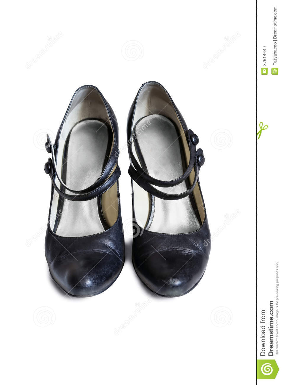 f10cae9226a5 Leather black Mary Jane shoes on white background