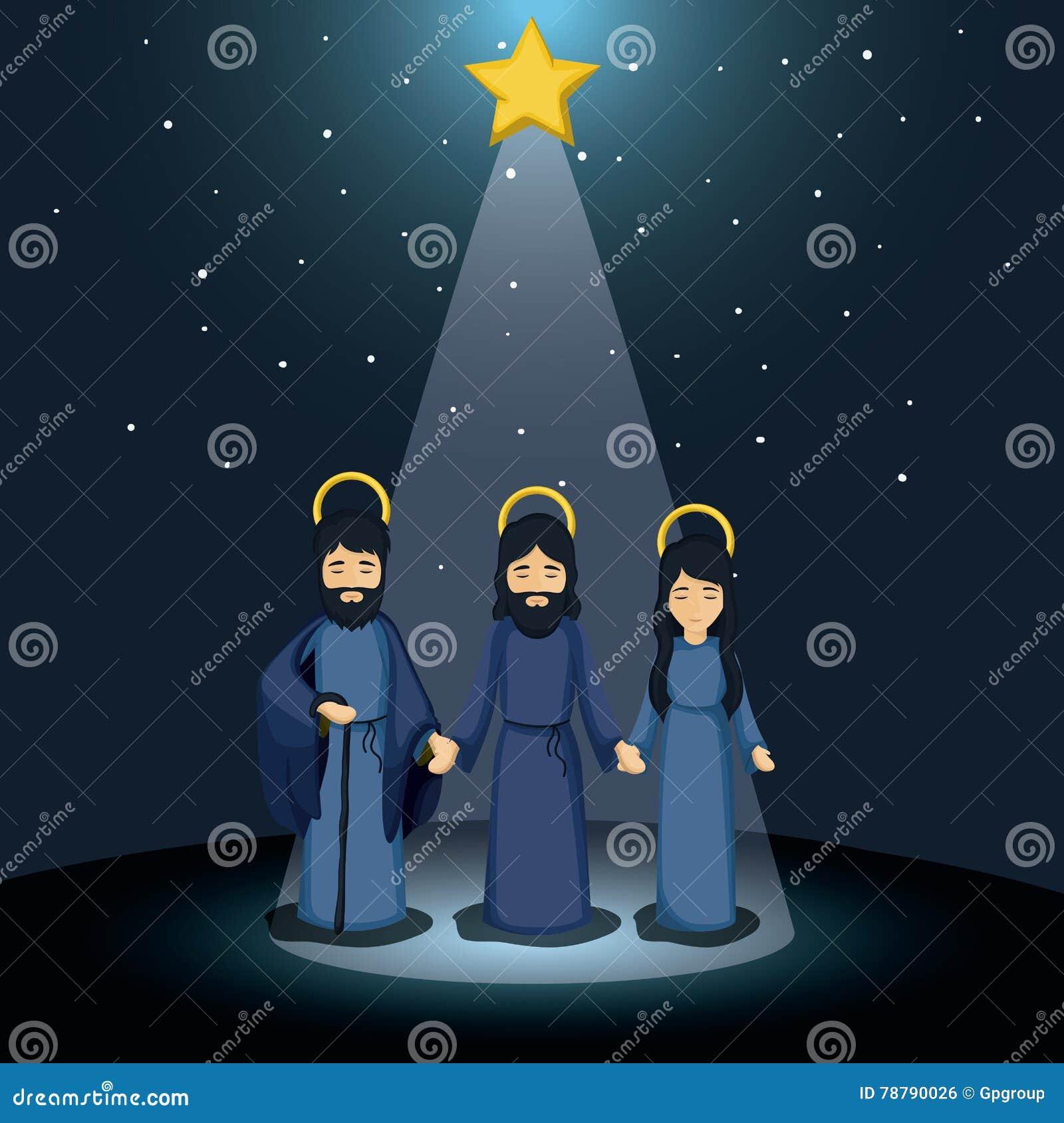 Mary Joseph And Jesus Cartoon Design Stock Vector - Illustration of ...