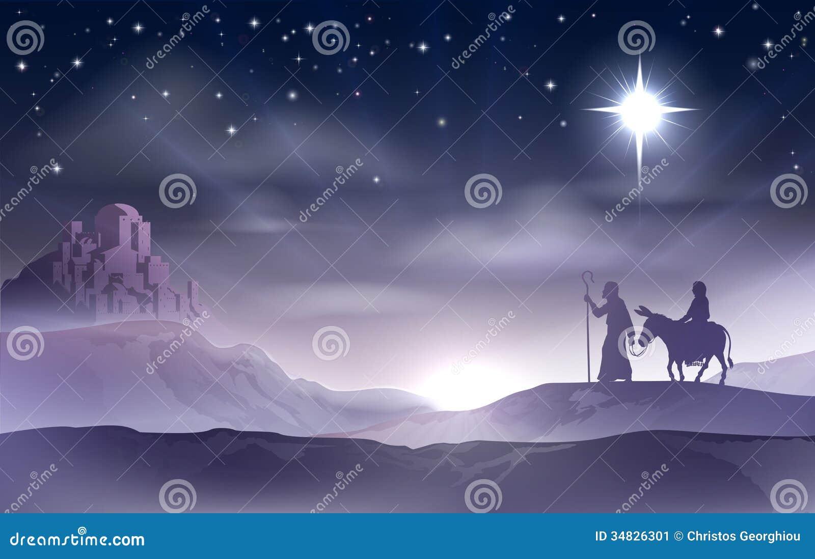 Mary And Joseph Nativity Christmas Illustration Stock Image ...