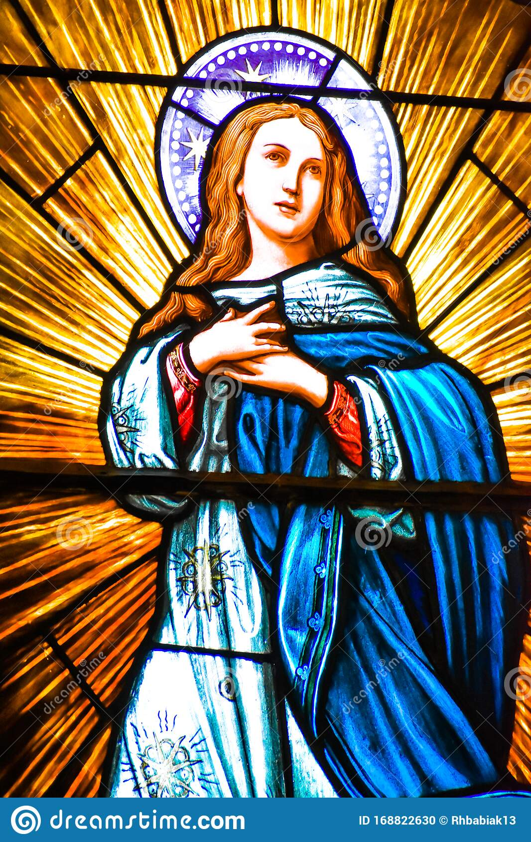 Mary Mother Of Jesus Stained Glass Window Stock Photo Image Of Mary Religious 168822630