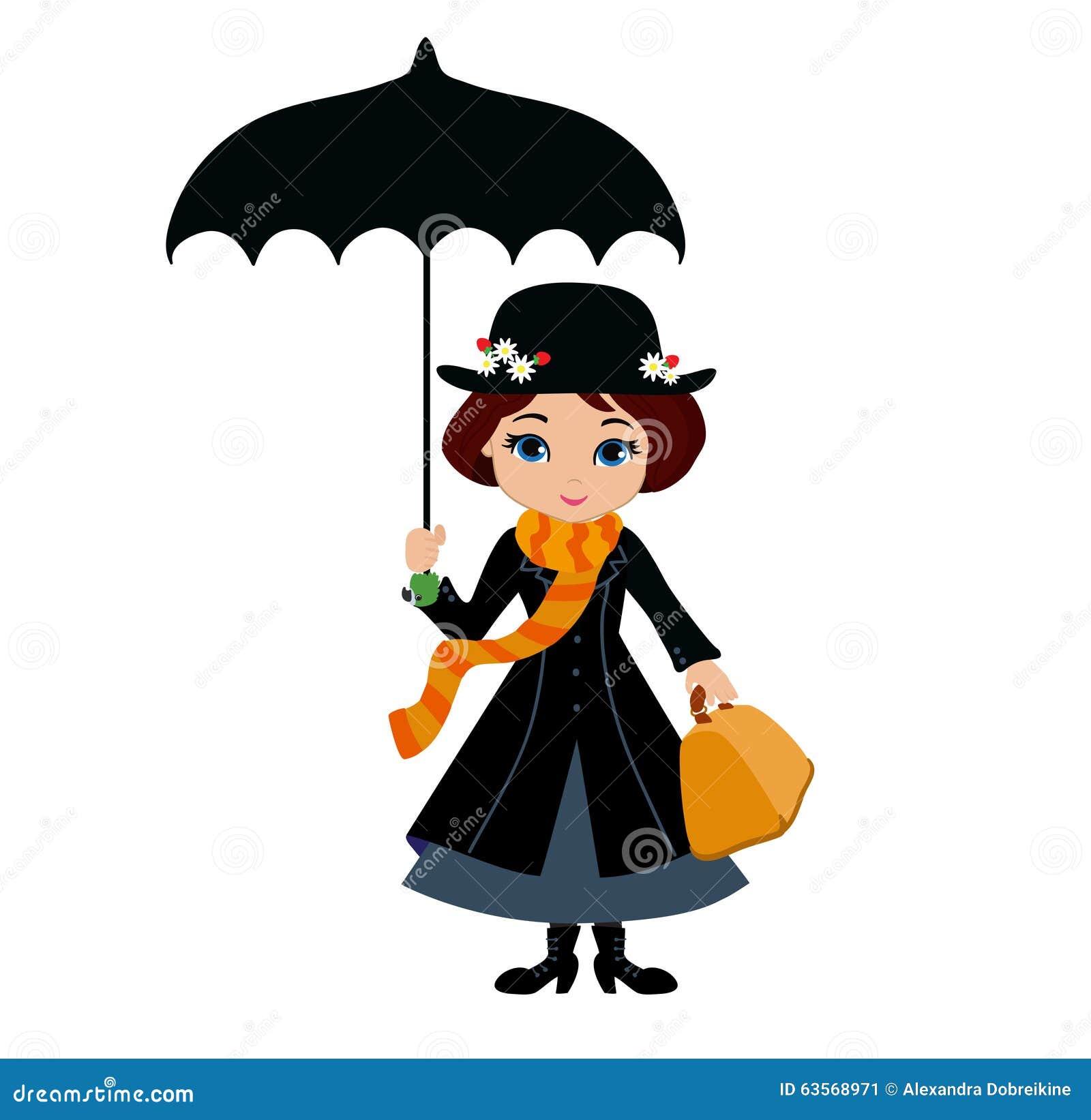 Mary Poppins avec le parapluie