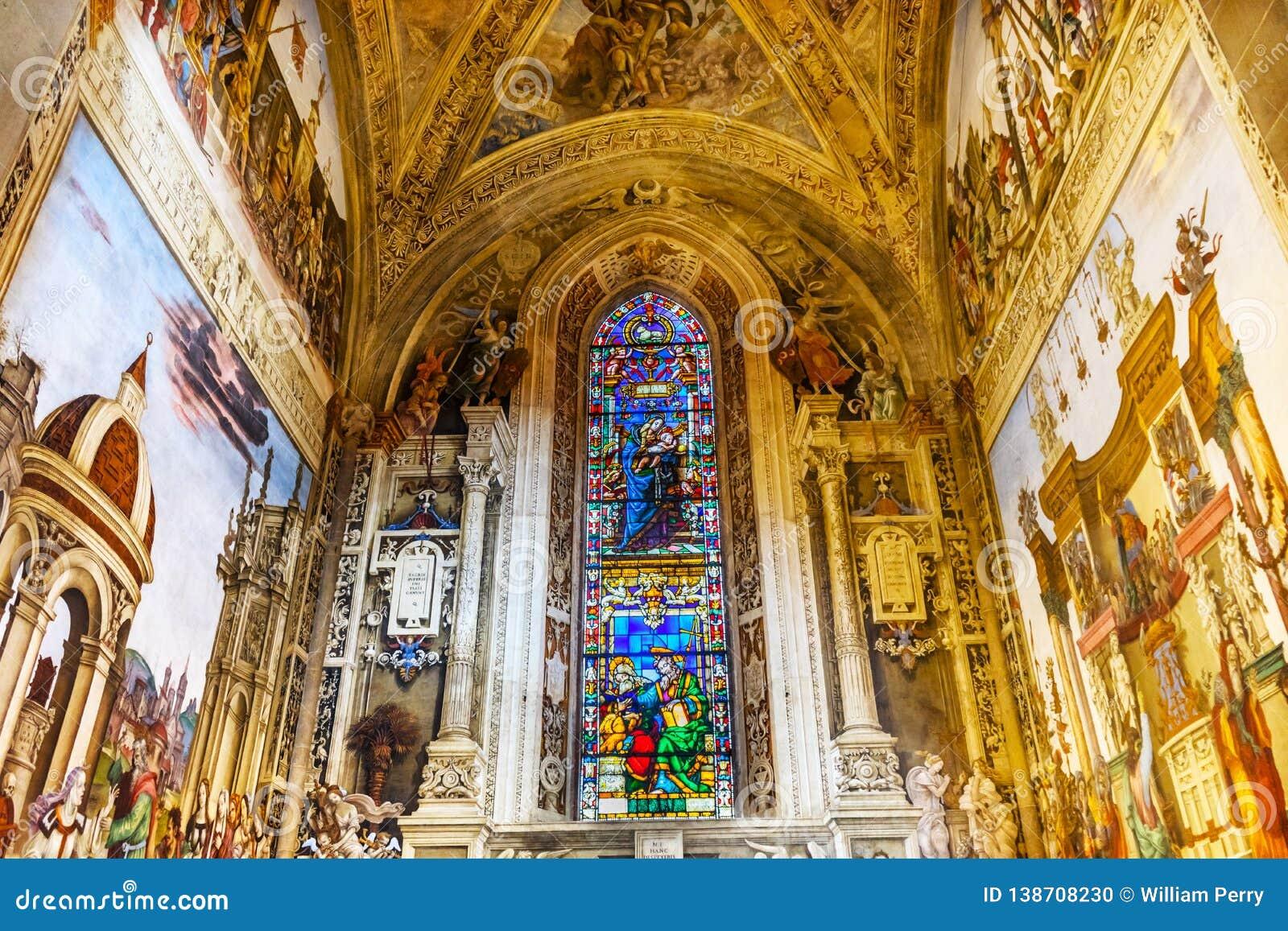 Mary Stained Glass Frescoes Santa Maria Novella Church Florence Italy