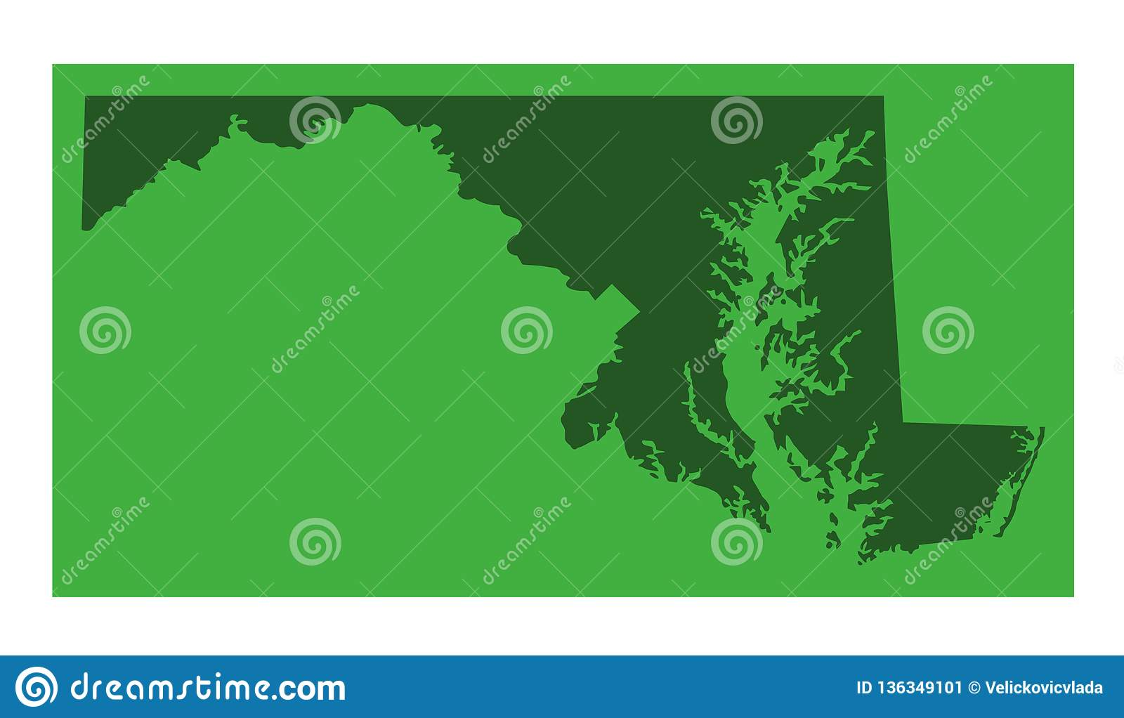 Maryland Map - State In The Mid-Atlantic Region Of The United States ...