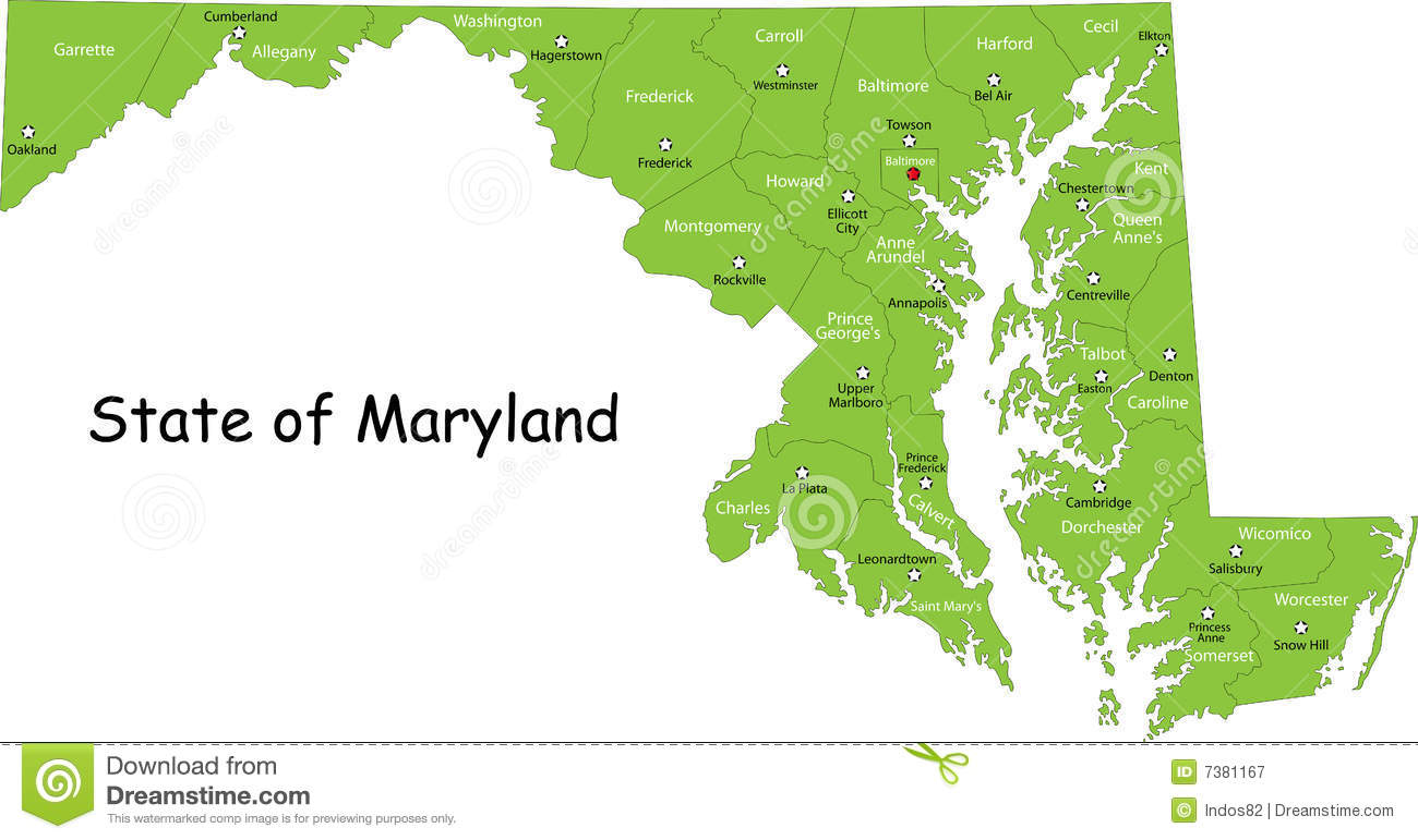 Maryland map (USA) stock vector. Illustration of color - 7381167