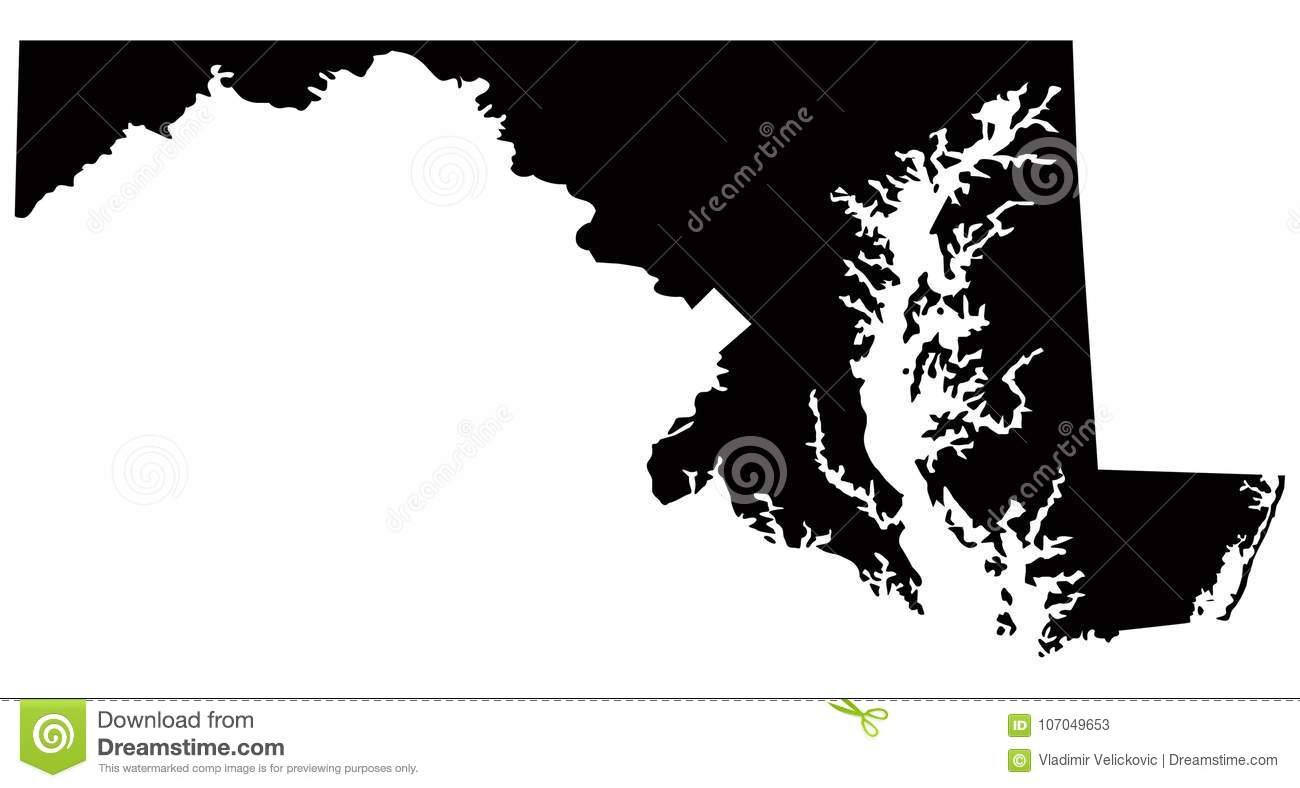Map Of Usa Vector.Maryland Map Usa Country Silhouette Stock Vector Illustration