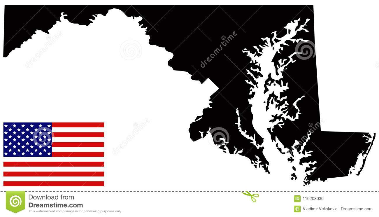 Mid Atlantic States Map.Maryland Map With Usa Flag State In The Mid Atlantic Region Of The