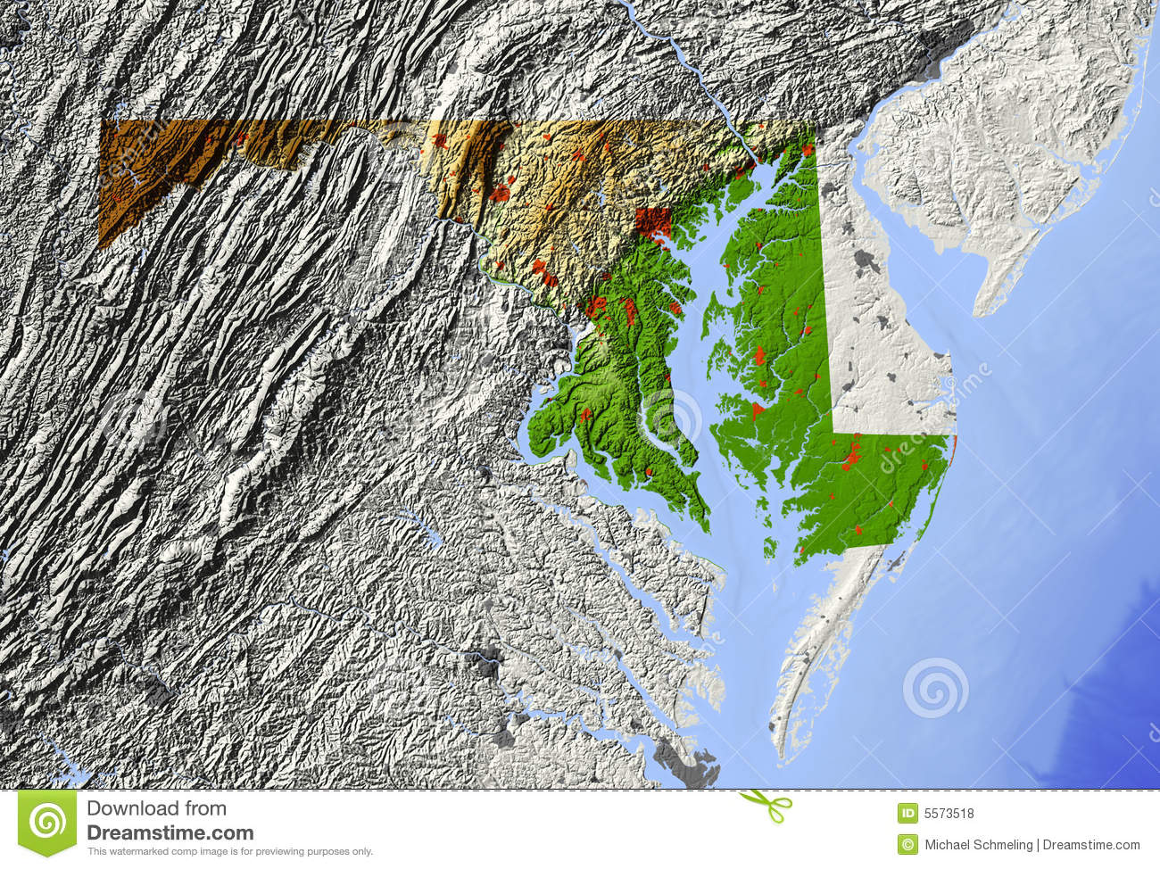 Maryland, relief map stock illustration. Illustration of ...