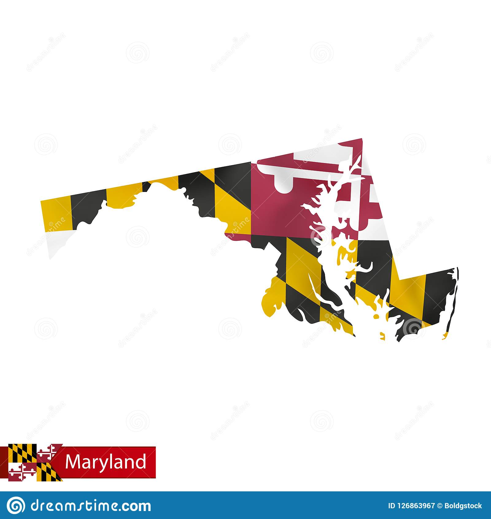 Maryland State Map With Waving Flag Of US State. Stock ... on graffiti of maryland, layout of maryland, landscape of maryland, graph of maryland, icons of maryland, clipart of maryland, food of maryland, drawing of maryland, cartoon of maryland,