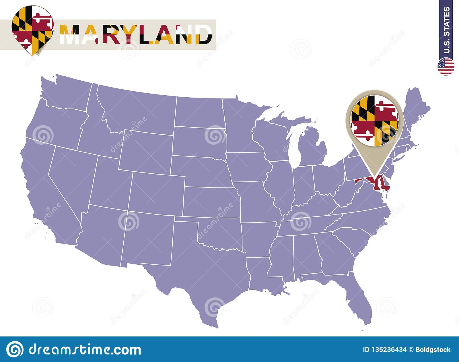 Maryland On Usa Map.Maryland State On Usa Map Maryland Flag And Map Stock Vector