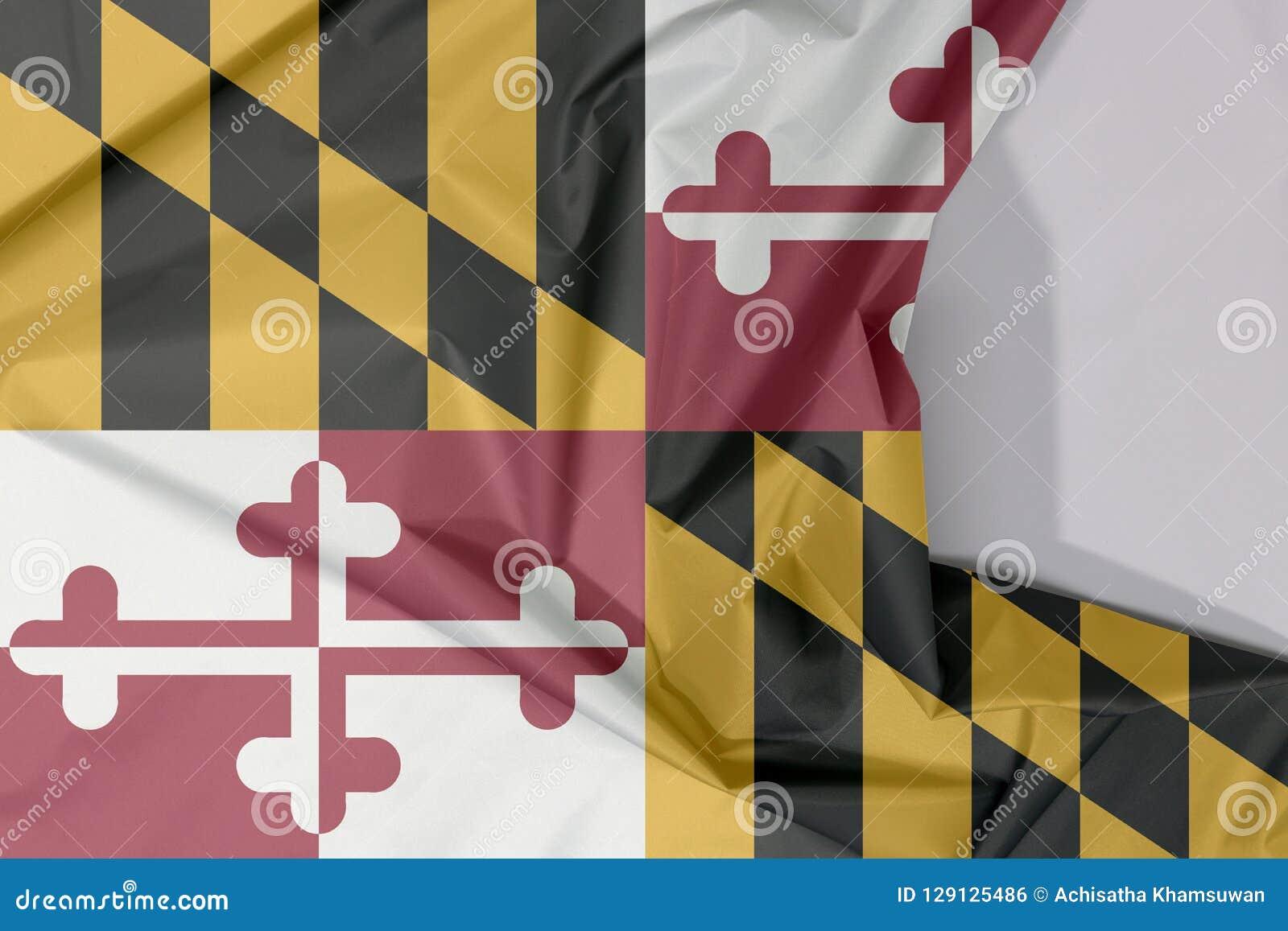 Maryland tkaniny flaga krepa i zagniecenie z biel przestrzenią stany Ameryka