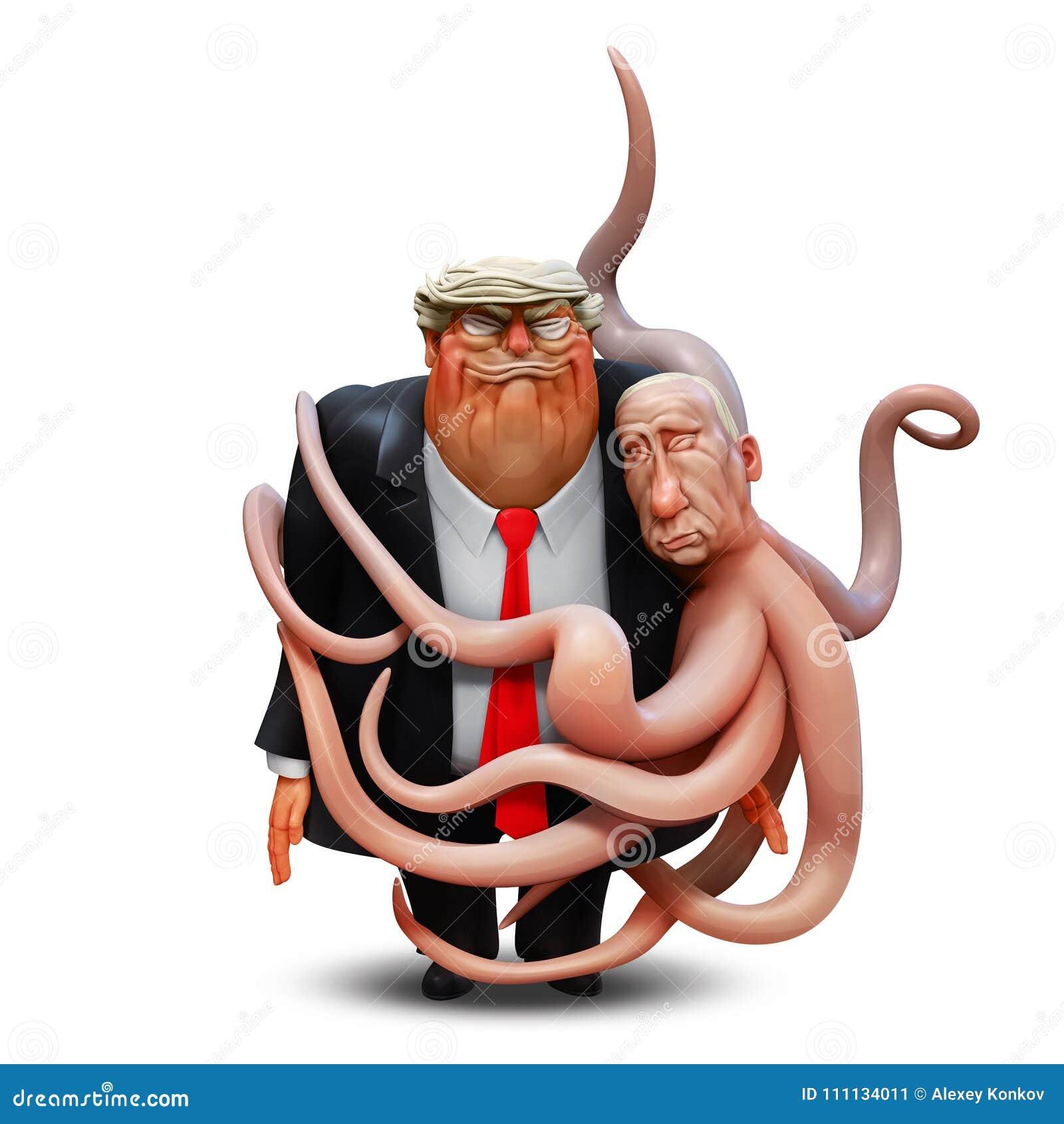 Marzec 1, 2018: Osobisty portret Donald atut w rękach ośmiornica Vladimir Putin ilustracja 3 d