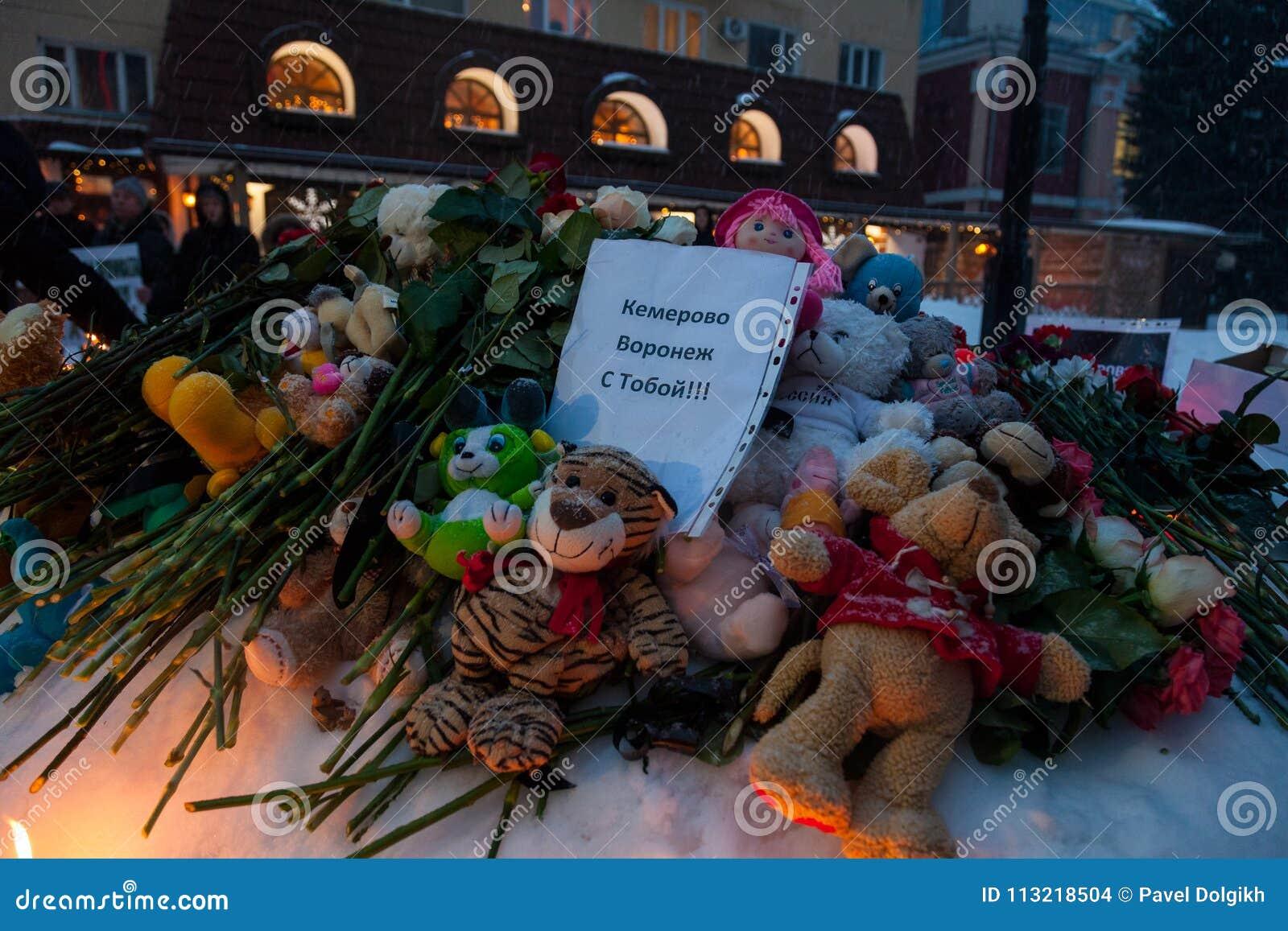 27 Marzec 2018, ROSJA, VORONEZH: Akcja upamiętniać ofiary ogień w centrum handlowym w Kemerovo