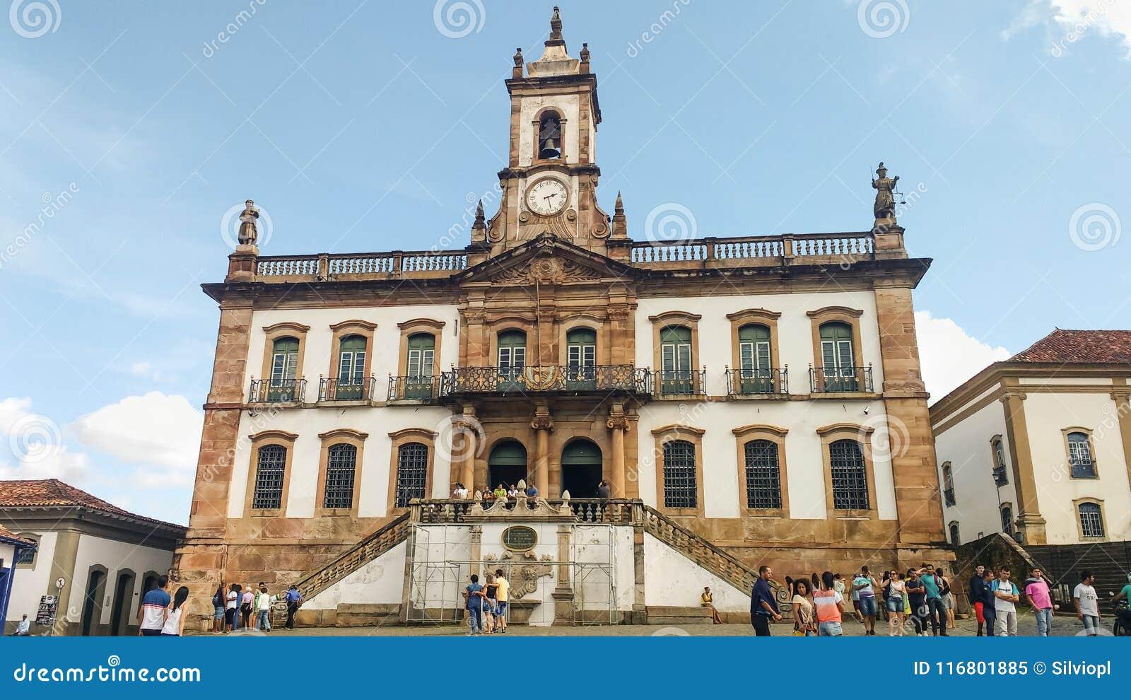 25 marzo 2016, città storica di Ouro Preto, Minas Gerais, Brasile Vecchia casa legislativa coloniale