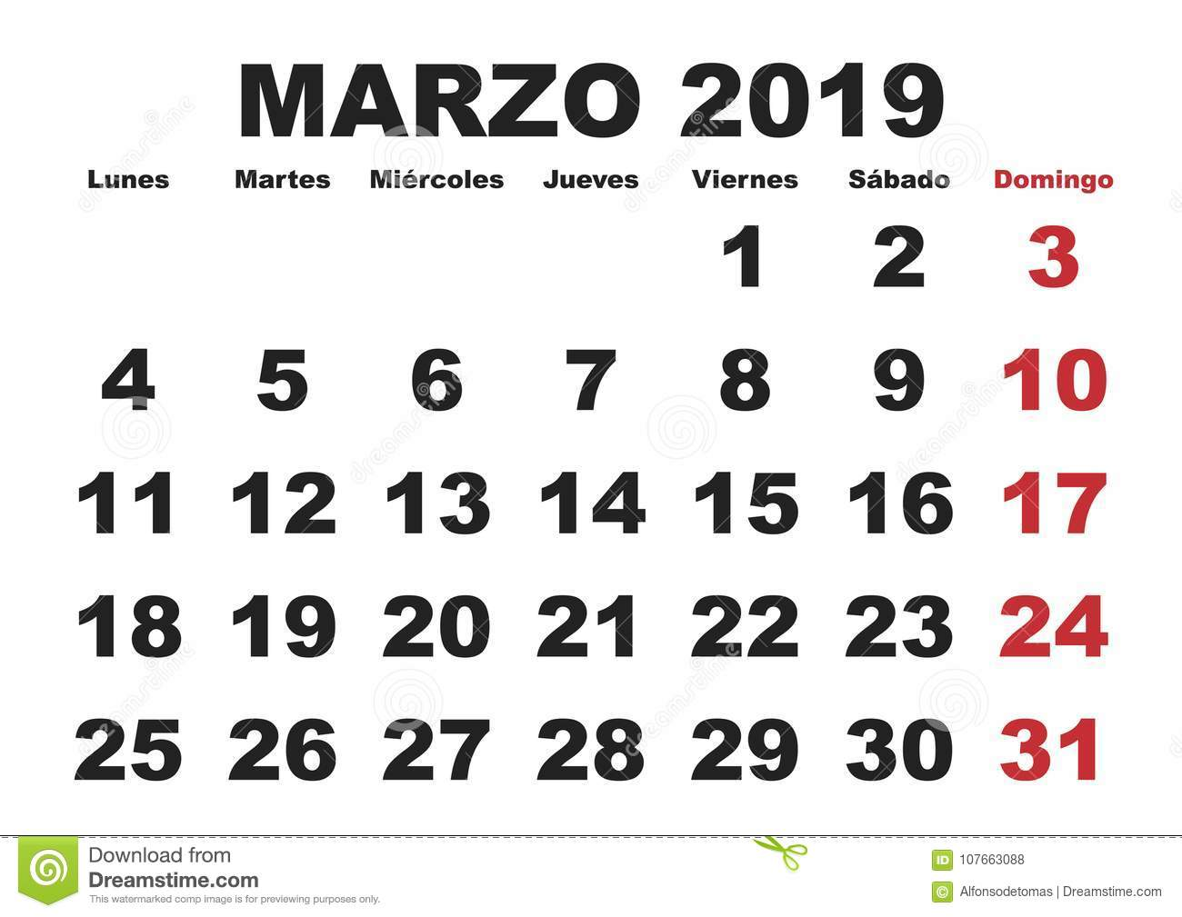 March Month In A Year 2019 Wall Calendar In Spanish Marzo