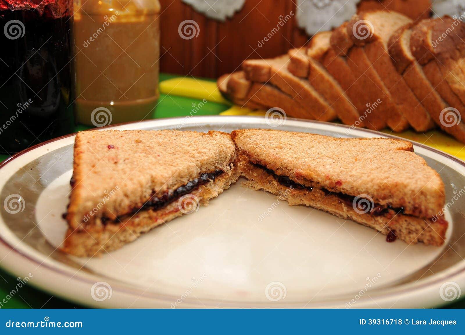 Masła Orzechowego i galarety kanapka