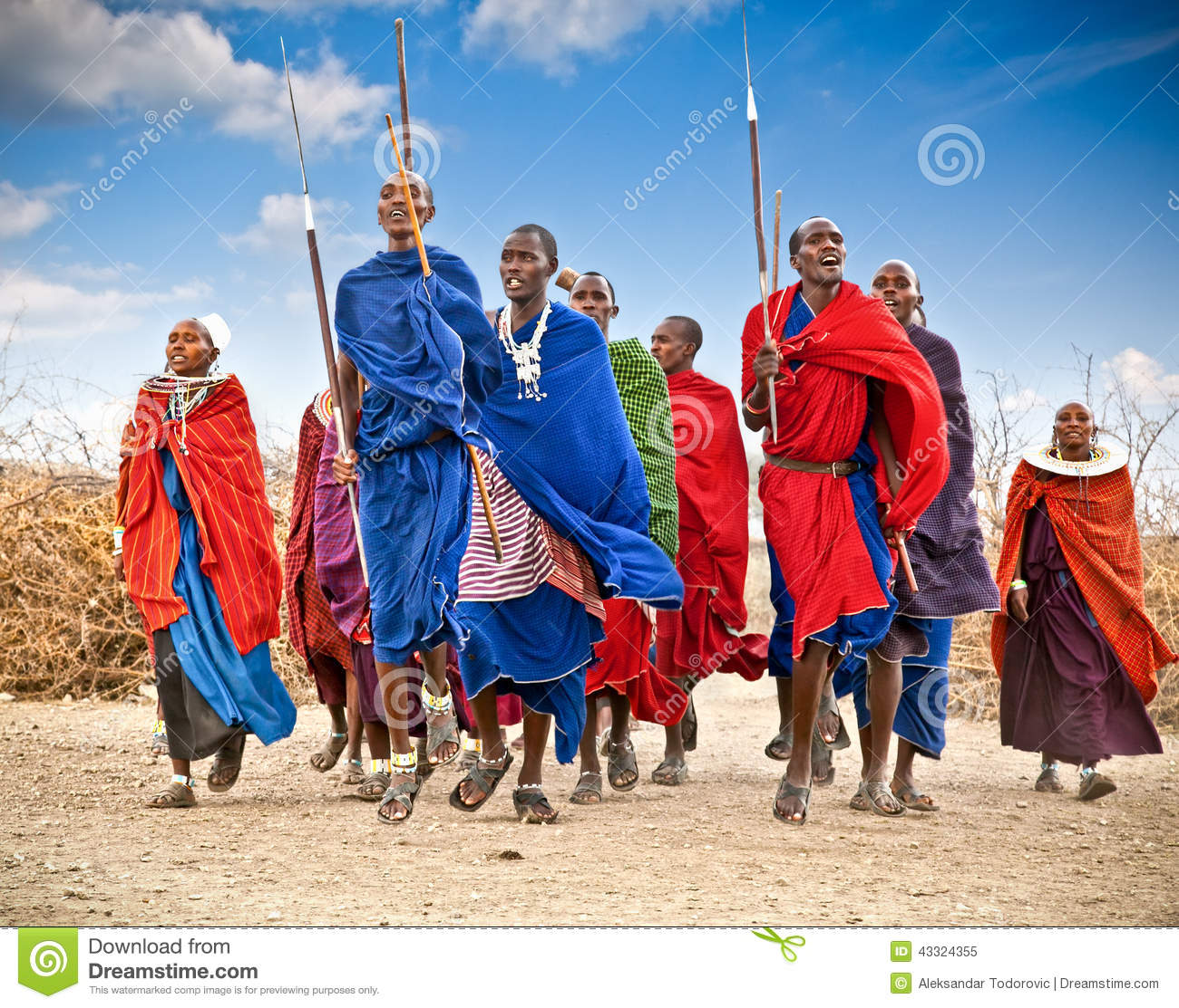 Masai warriors dancing traditional jumps as cultural ceremony. T