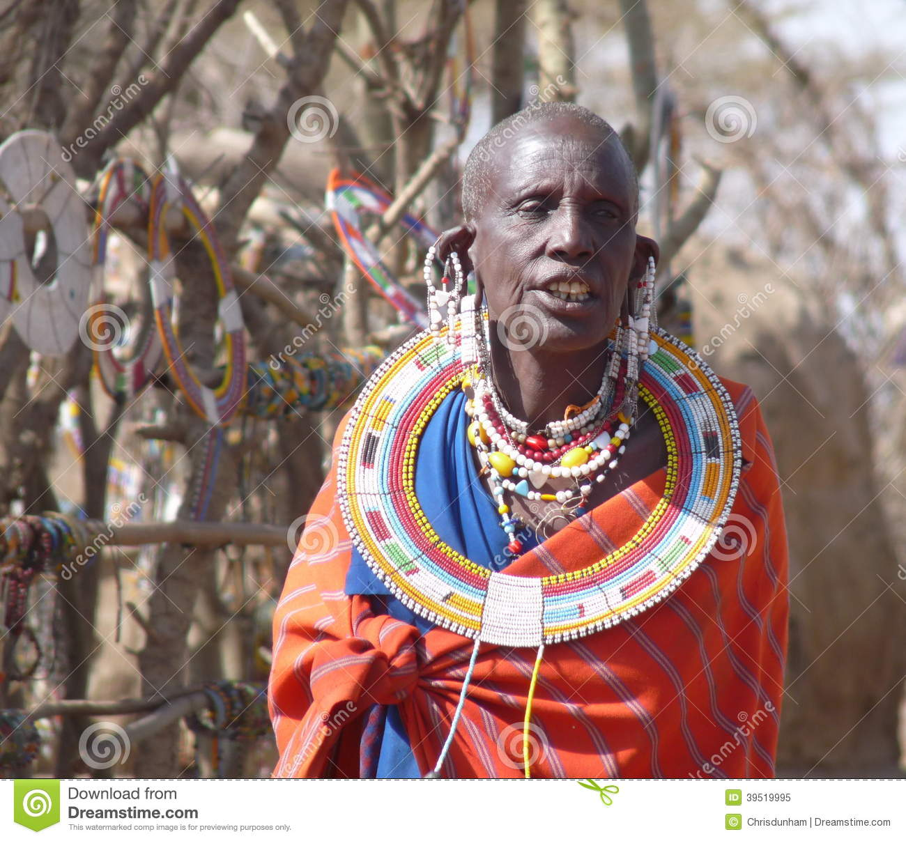 Masai Woman In Traditional Dress And Jewellery Editorial