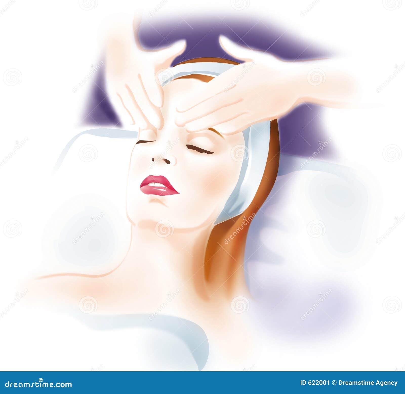 Masaje de cara de la mujer - cuidado de piel