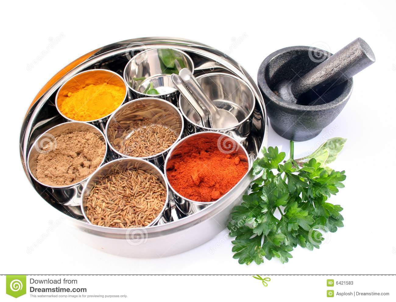 Masala dabba indian spice box stock image image 6421583 for 7 spices asian cuisine