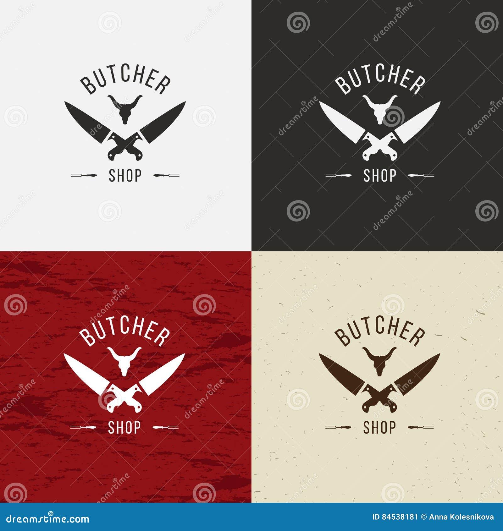 Masarka sklepu ikona, masarka sklepu logo, odosobniony masarka sklepu emblemat Krowy twarz i nożowa retro ilustracja Na bielu,