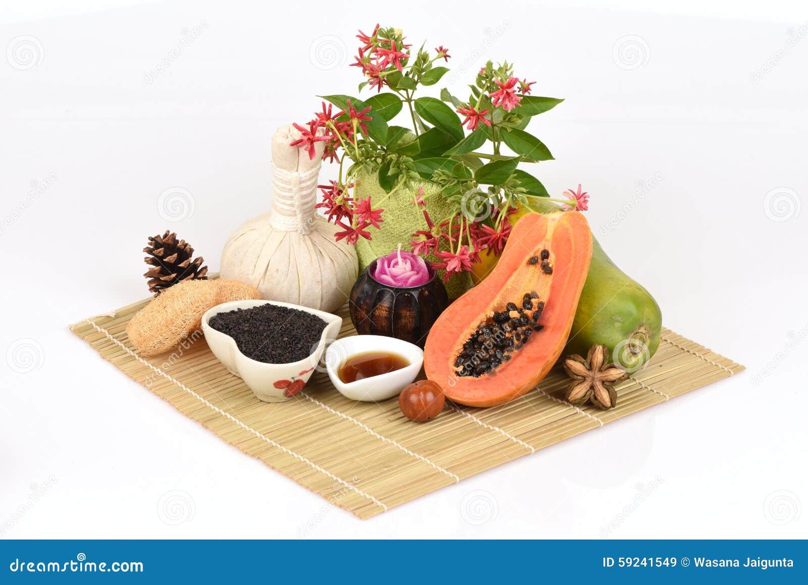 Mascarilla para el tratamiento del acné con aceite de la papaya y de sésamo a la superficie lisa