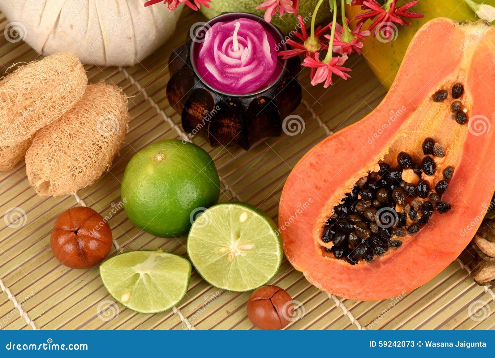 Download Mascarilla Para El Tratamiento Del Acné Con La Papaya Y La Cal Imagen de archivo - Imagen de balneario, masaje: 59242073