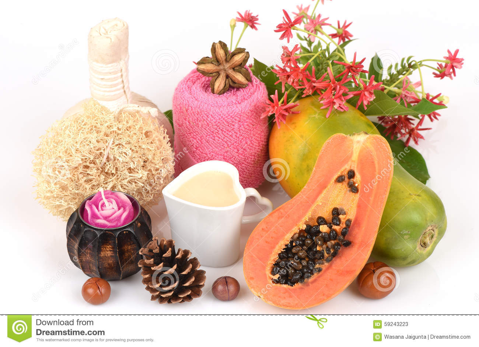 Download Mascarilla Para El Tratamiento Del Acné Con La Papaya Y La Leche Fresca Imagen de archivo - Imagen de leche, homeopathy: 59243223