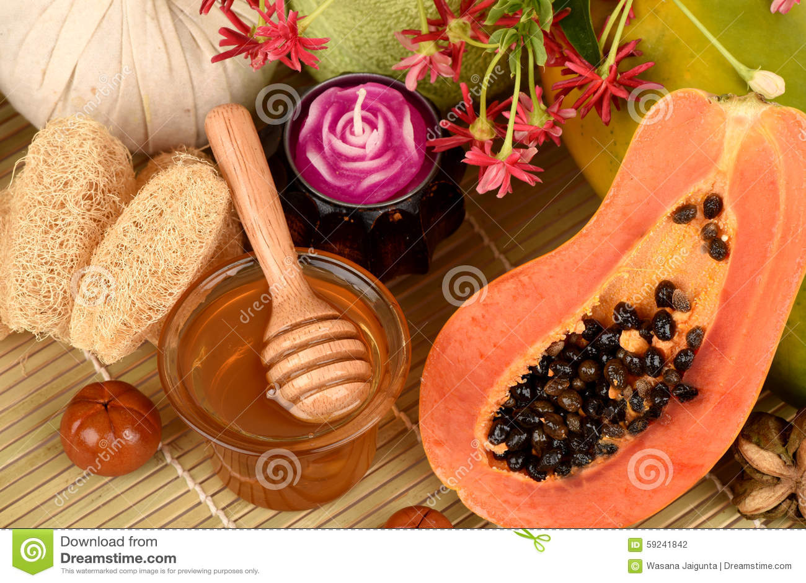 Download Mascarilla Para El Tratamiento Del Acné Con La Papaya Y La Miel Foto de archivo - Imagen de toallas, velas: 59241842